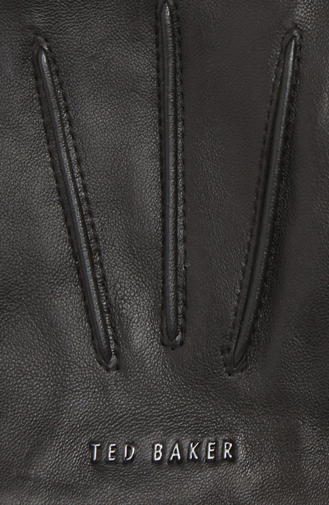 Cuffed Leather Touchscreen Gloves,                             Alternate thumbnail 3, color,                             001