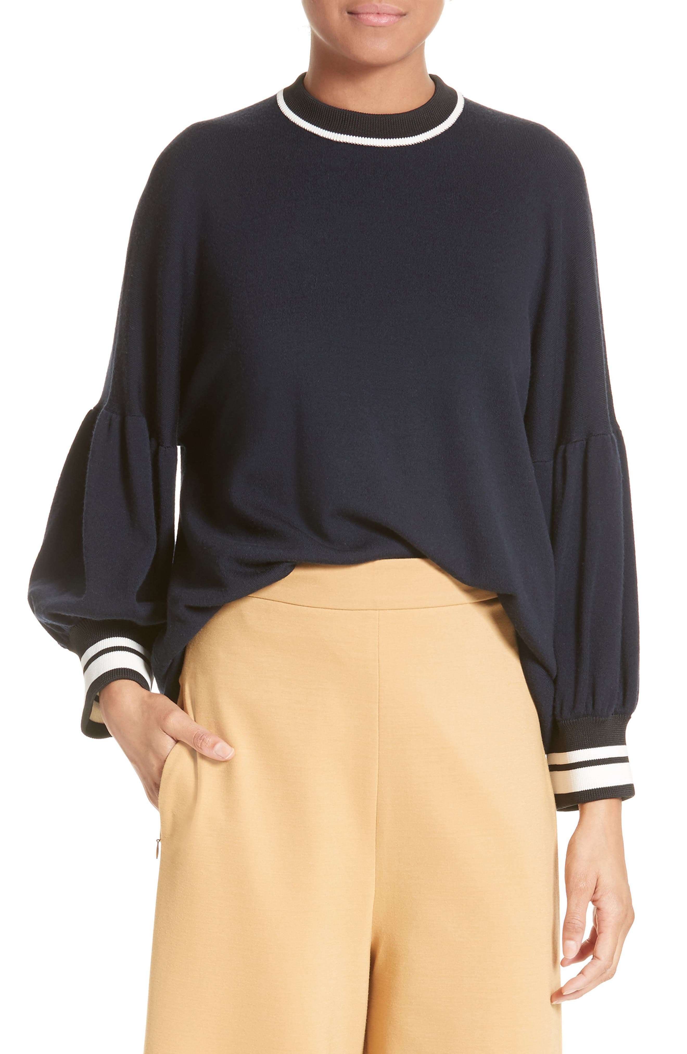 Wool Puff Sleeve Pullover,                         Main,                         color, 402