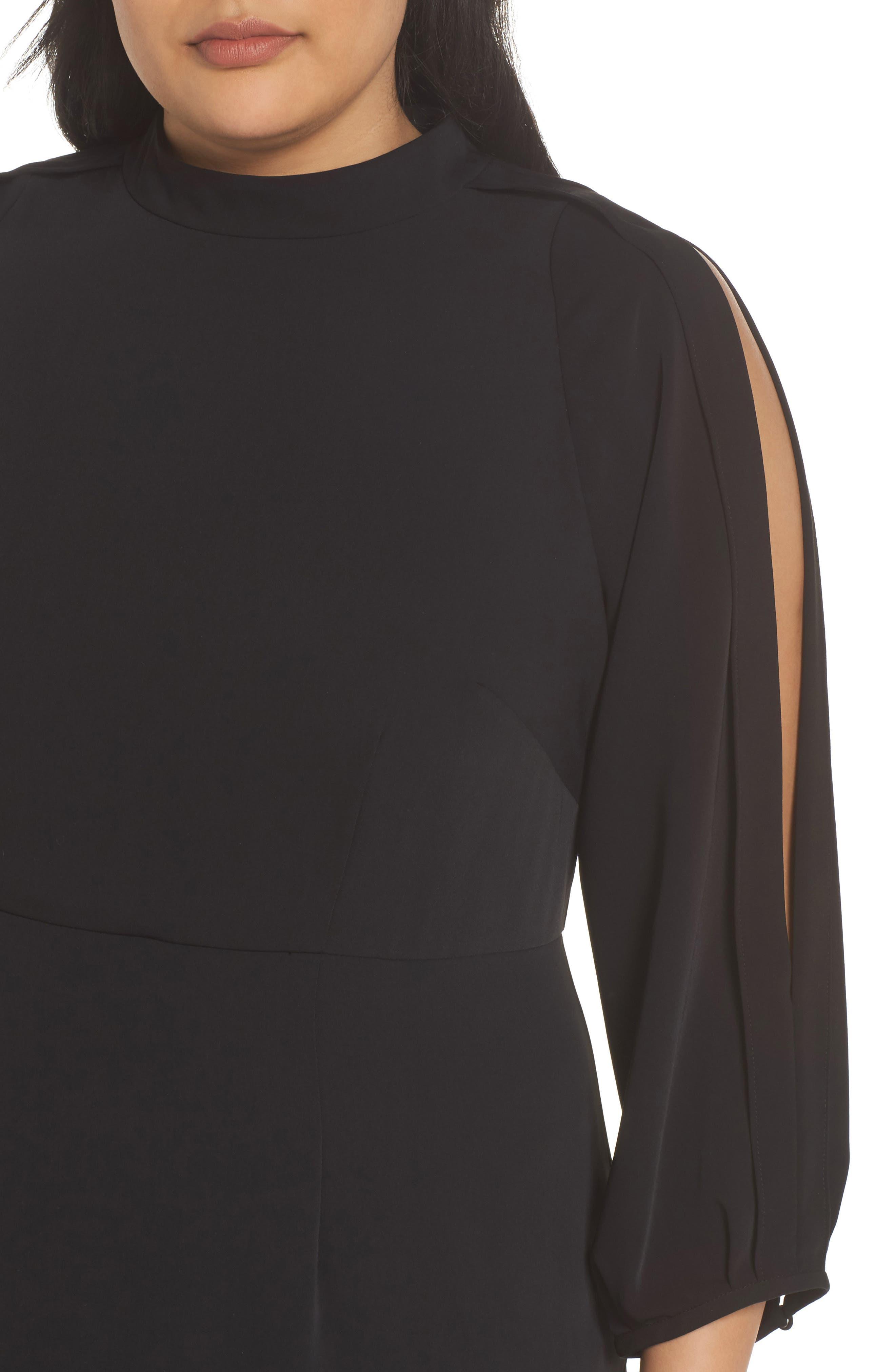 Mock Neck Split Sleeve Dress,                             Alternate thumbnail 4, color,                             001