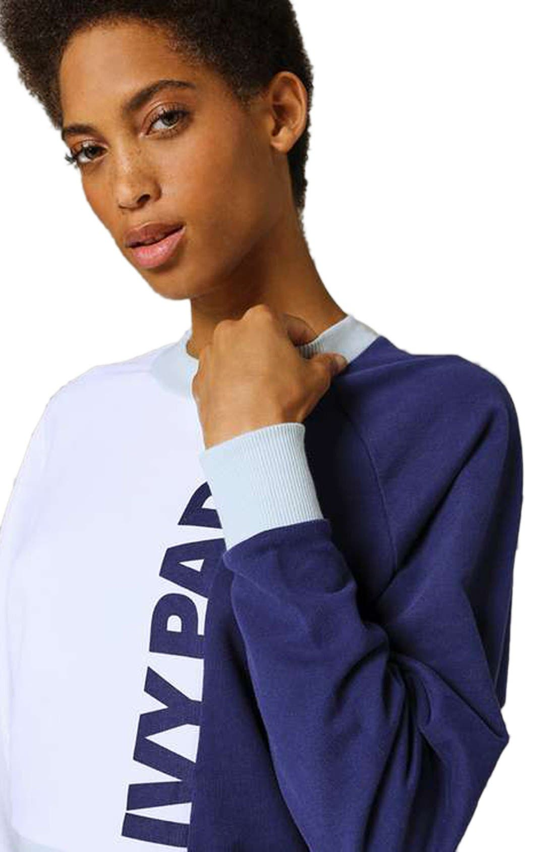 IVY PARK<SUP>®</SUP>,                             Colorblock Peached Logo Sweatshirt,                             Alternate thumbnail 3, color,                             410