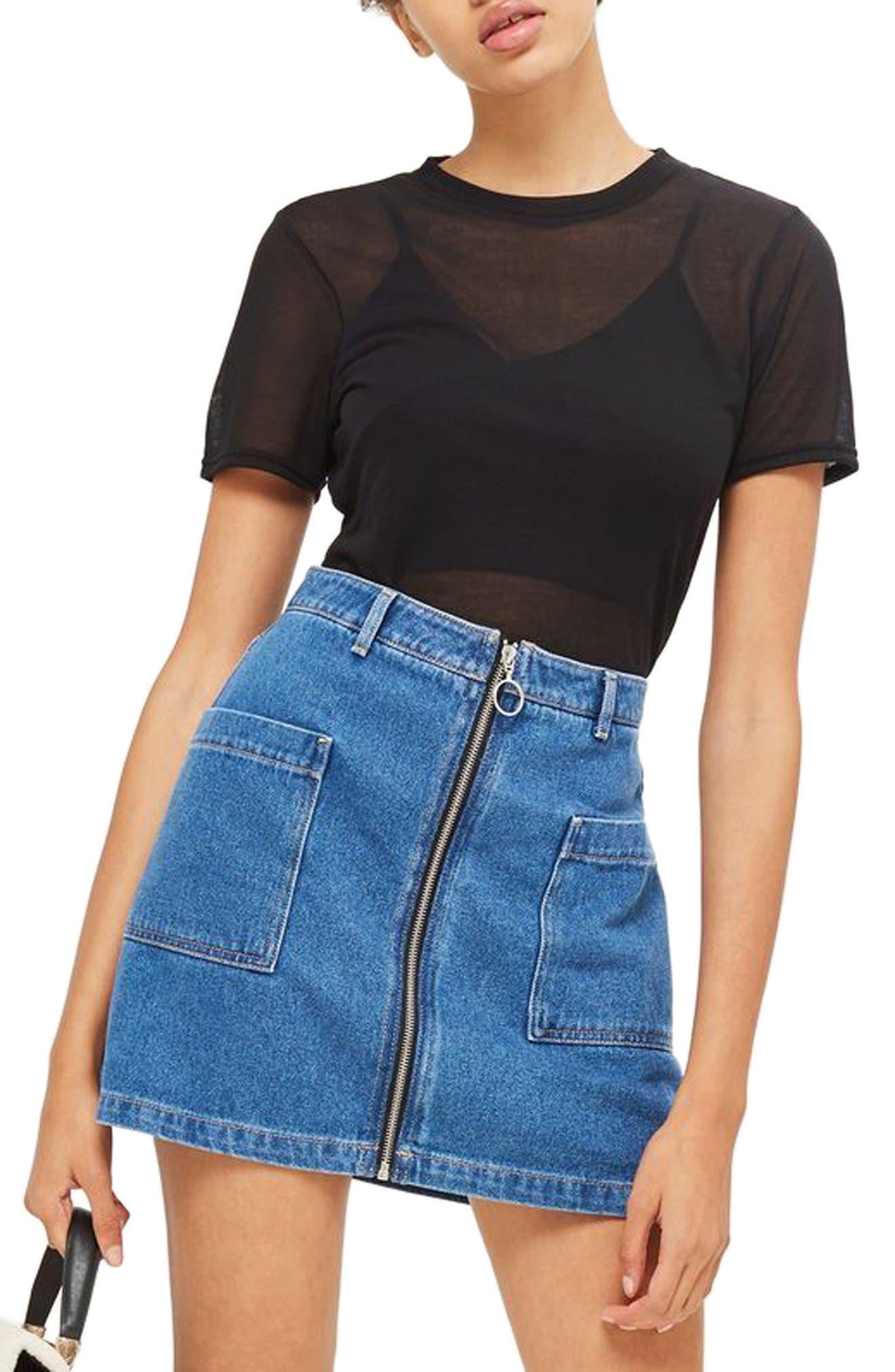 Sheer T-Shirt Bodysuit,                         Main,                         color, 001