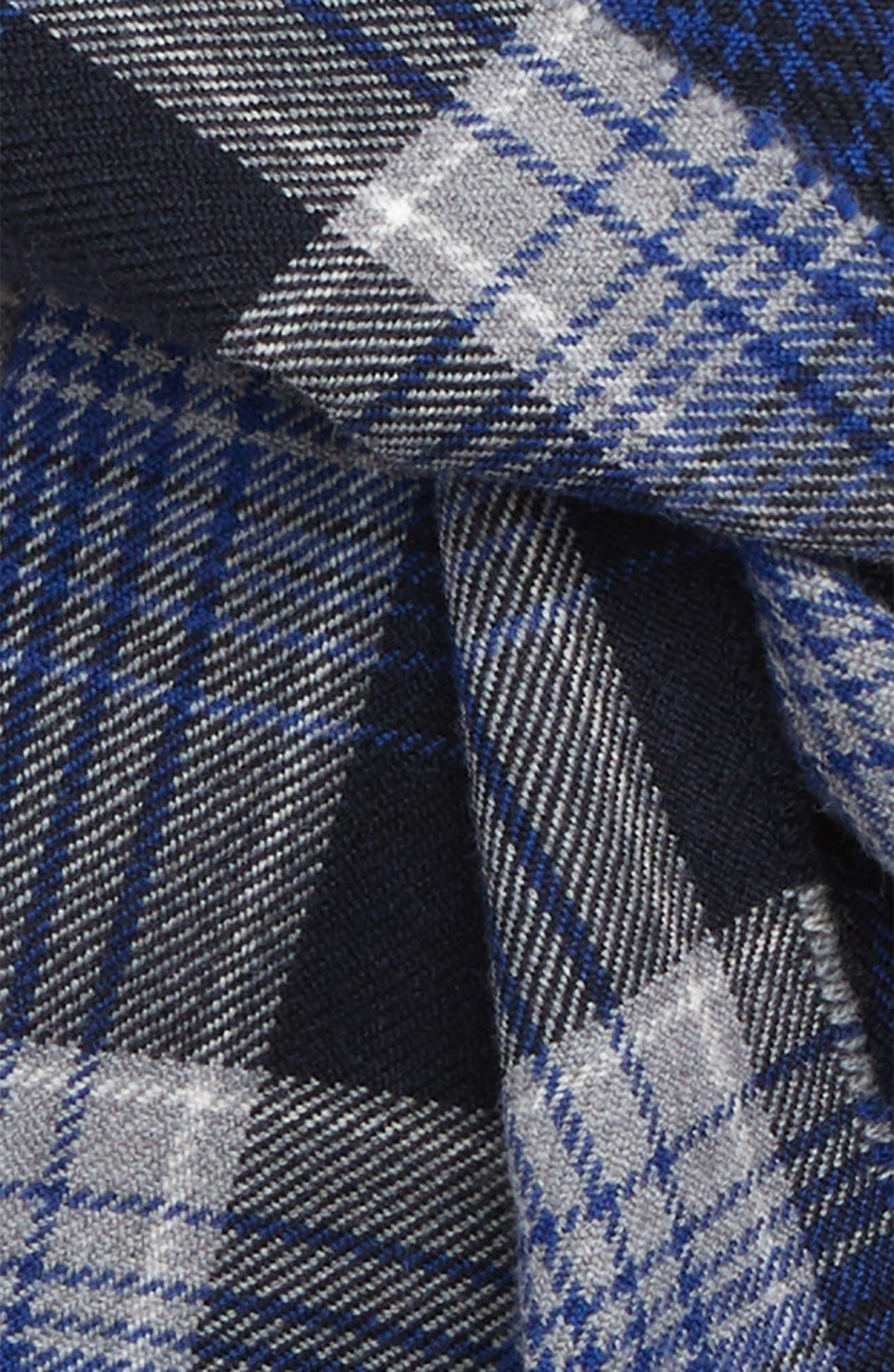 Windowpane Plaid Merino Wool Scarf,                             Alternate thumbnail 3, color,                             COBALT