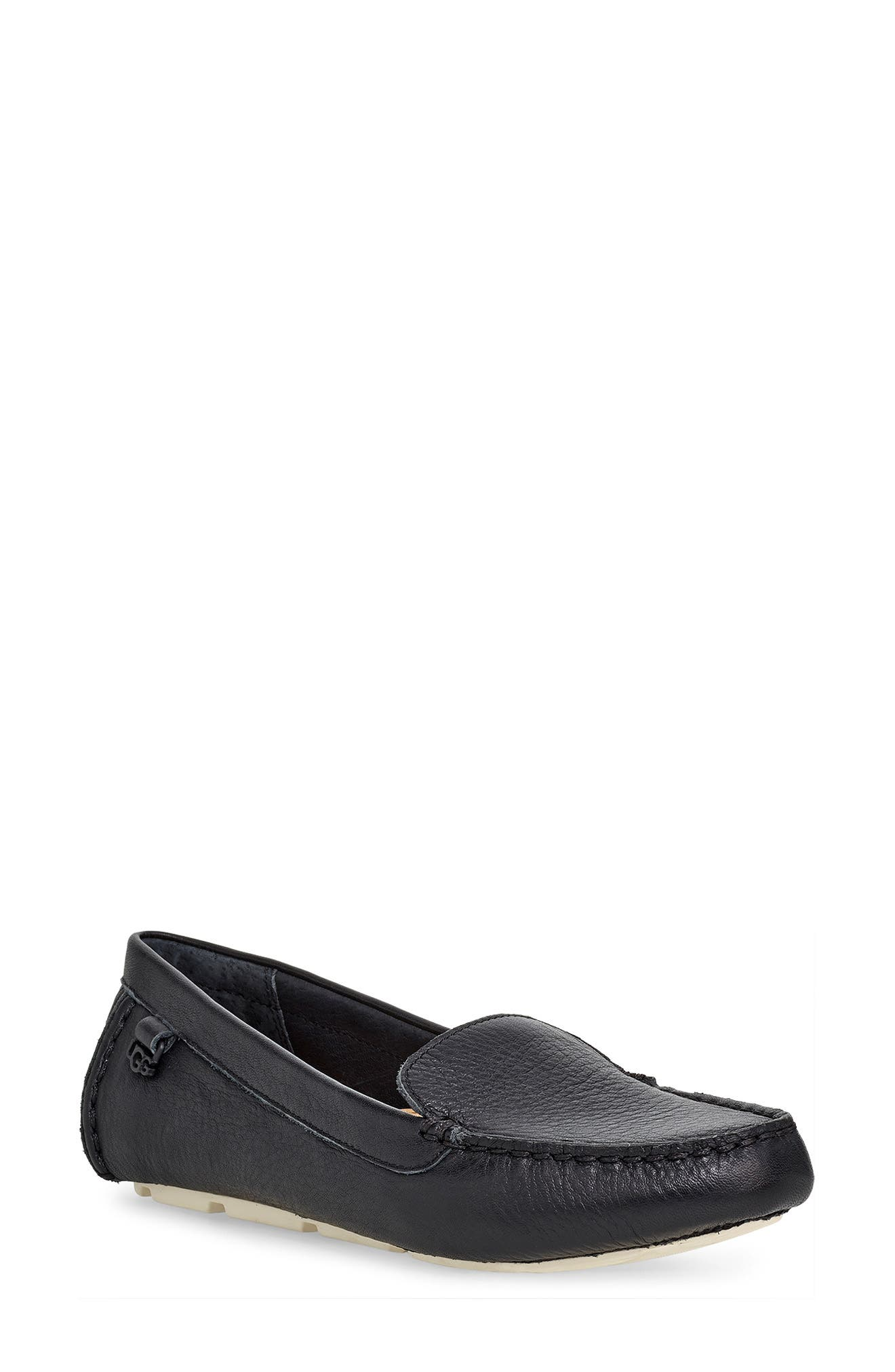 Flores Driving Loafer,                             Main thumbnail 1, color,                             BLACK LEATHER