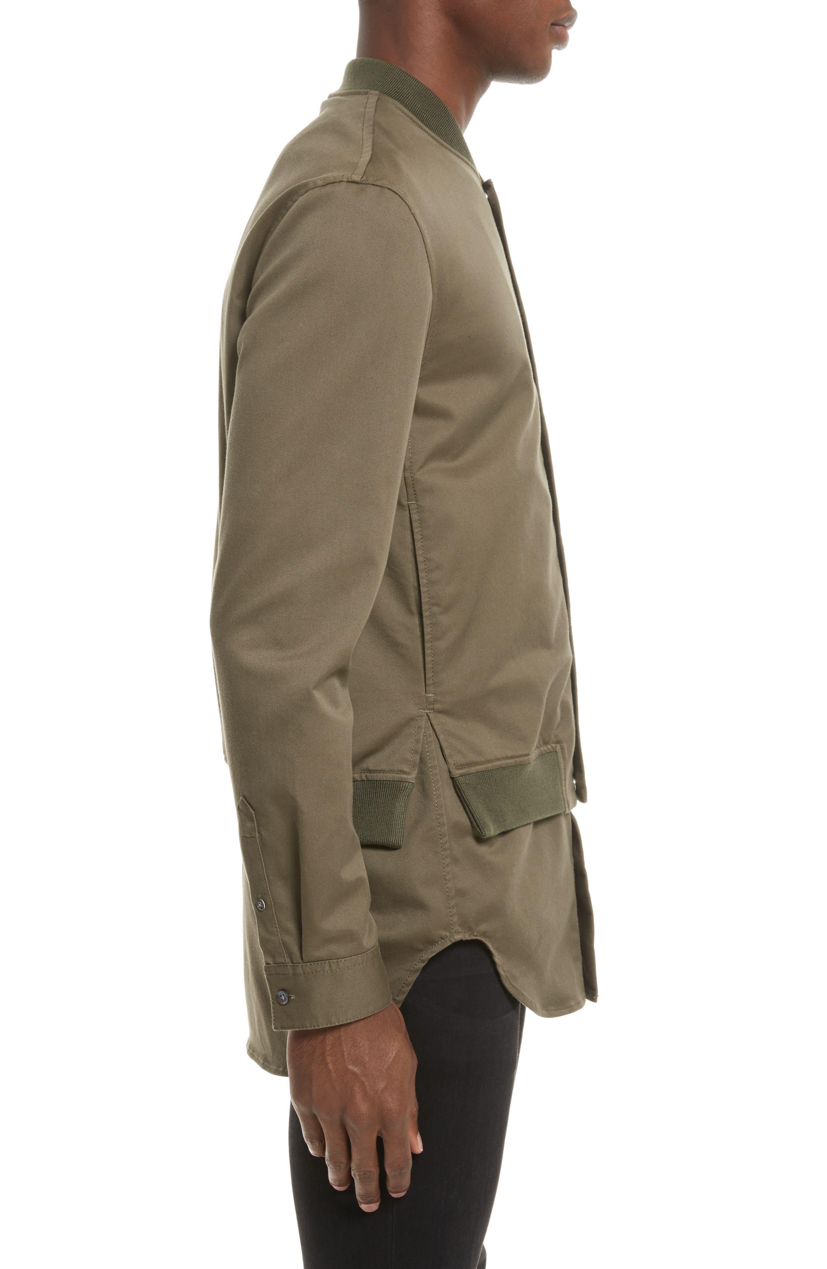 Bomber Shirt Jacket,                             Alternate thumbnail 3, color,                             ARMY