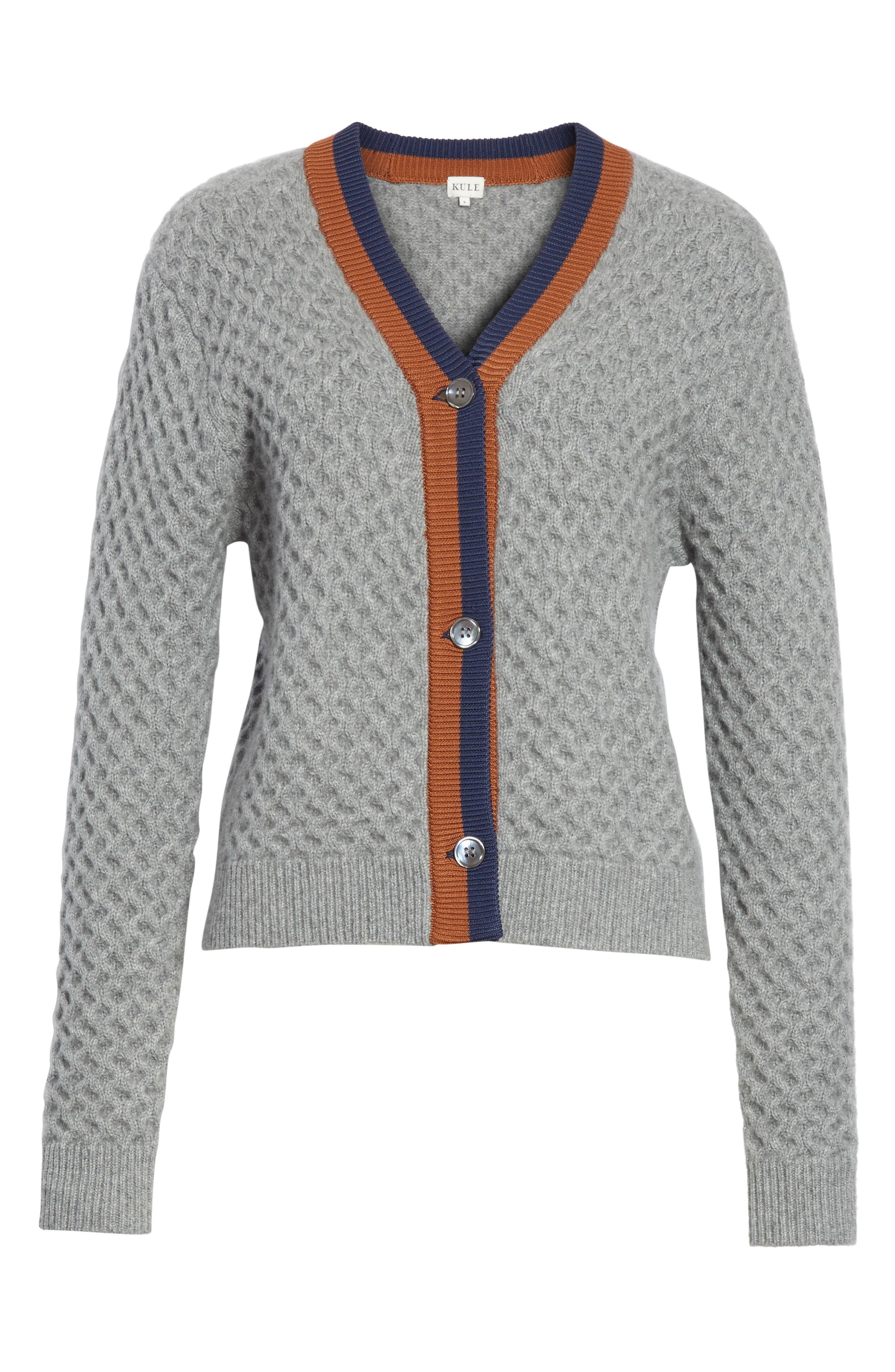 The Dylan Cashmere Cardigan,                             Alternate thumbnail 6, color,                             GREY/ VICUNA/ NAVY