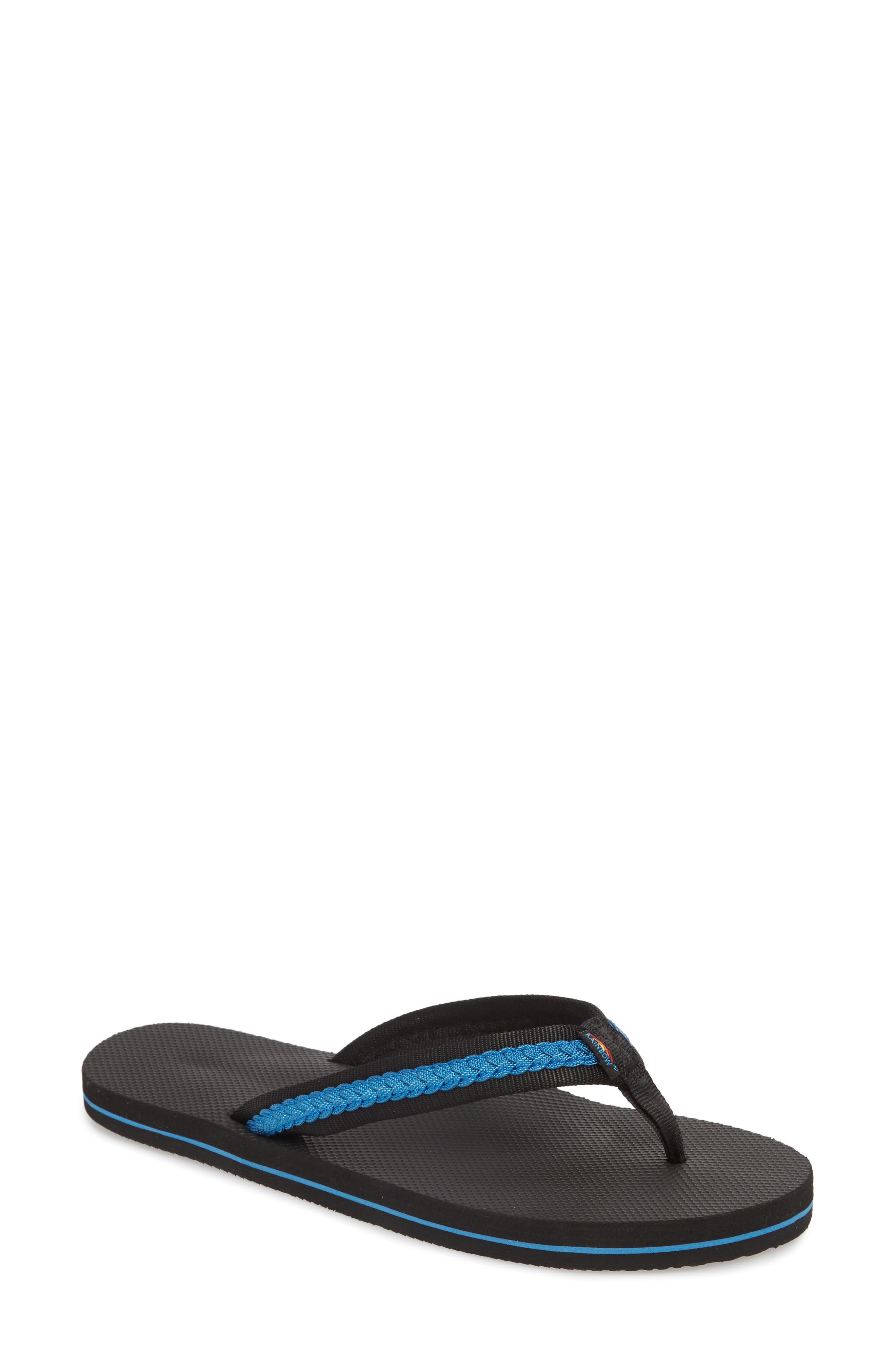 Braided Flip Flop,                         Main,                         color, BLACK