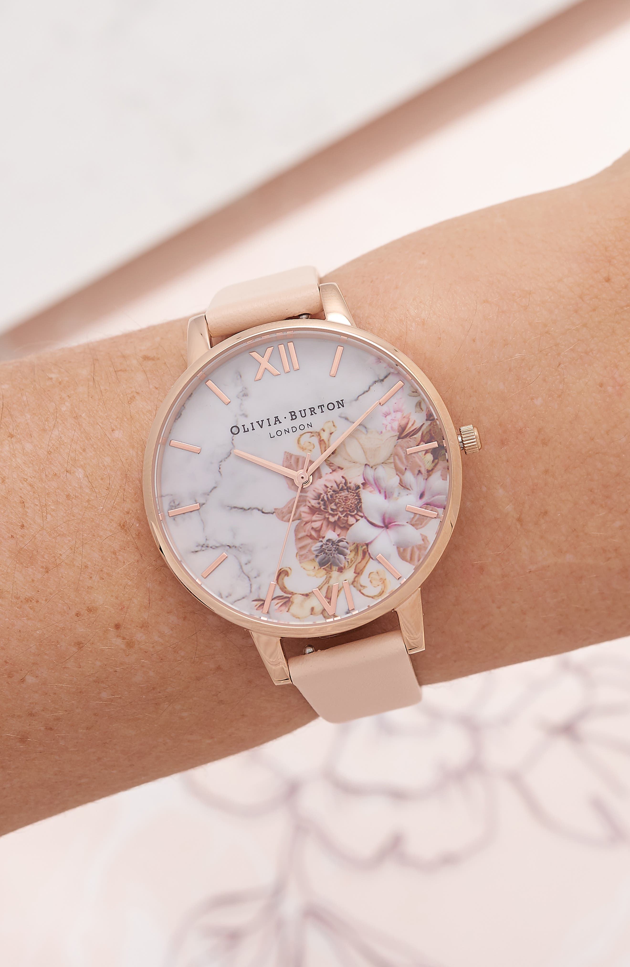 Marble Floral Leather Strap Watch, 38mm,                             Alternate thumbnail 6, color,