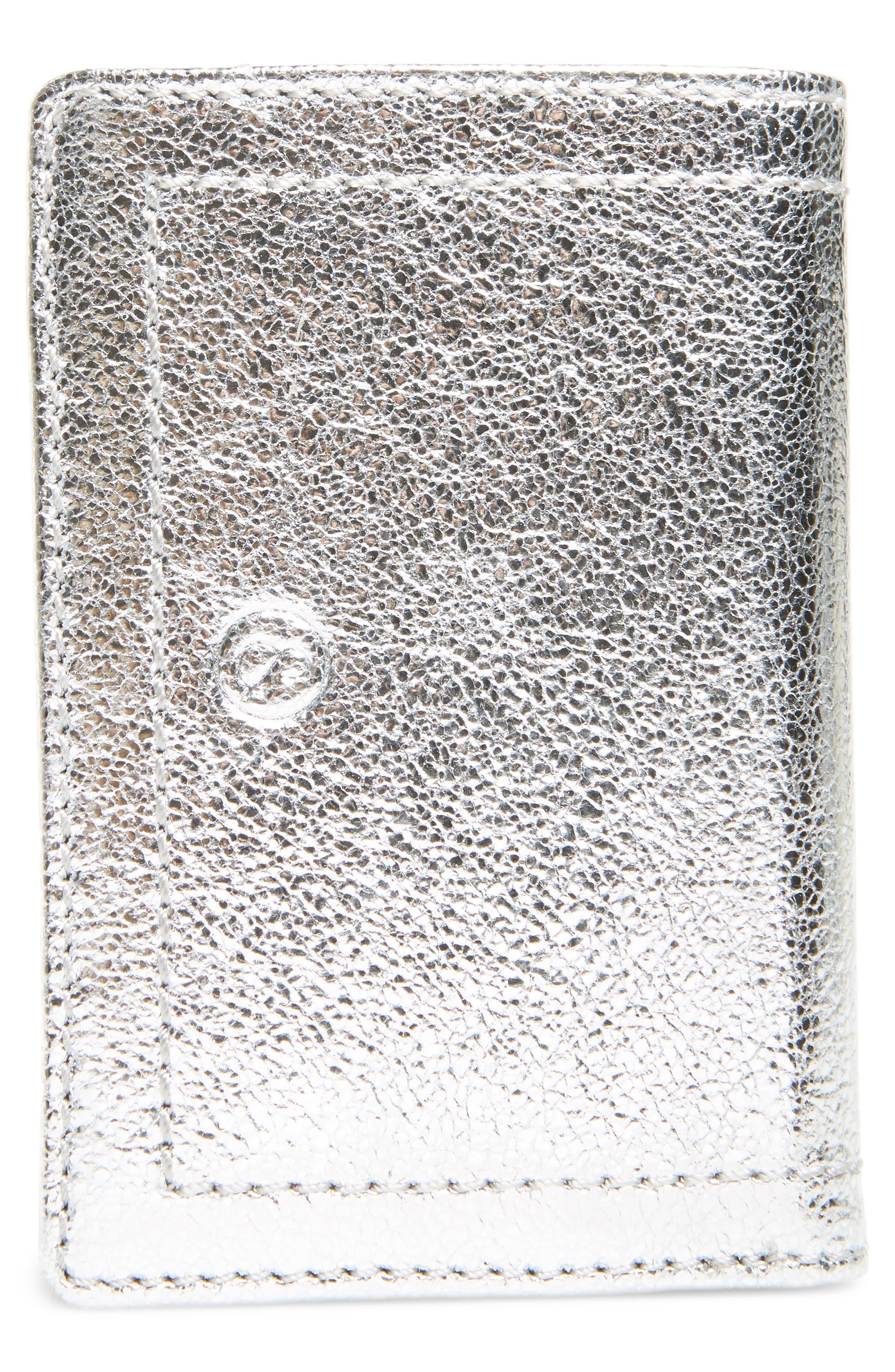 Devon Crackle Leather Card Case,                             Alternate thumbnail 2, color,                             SILVER