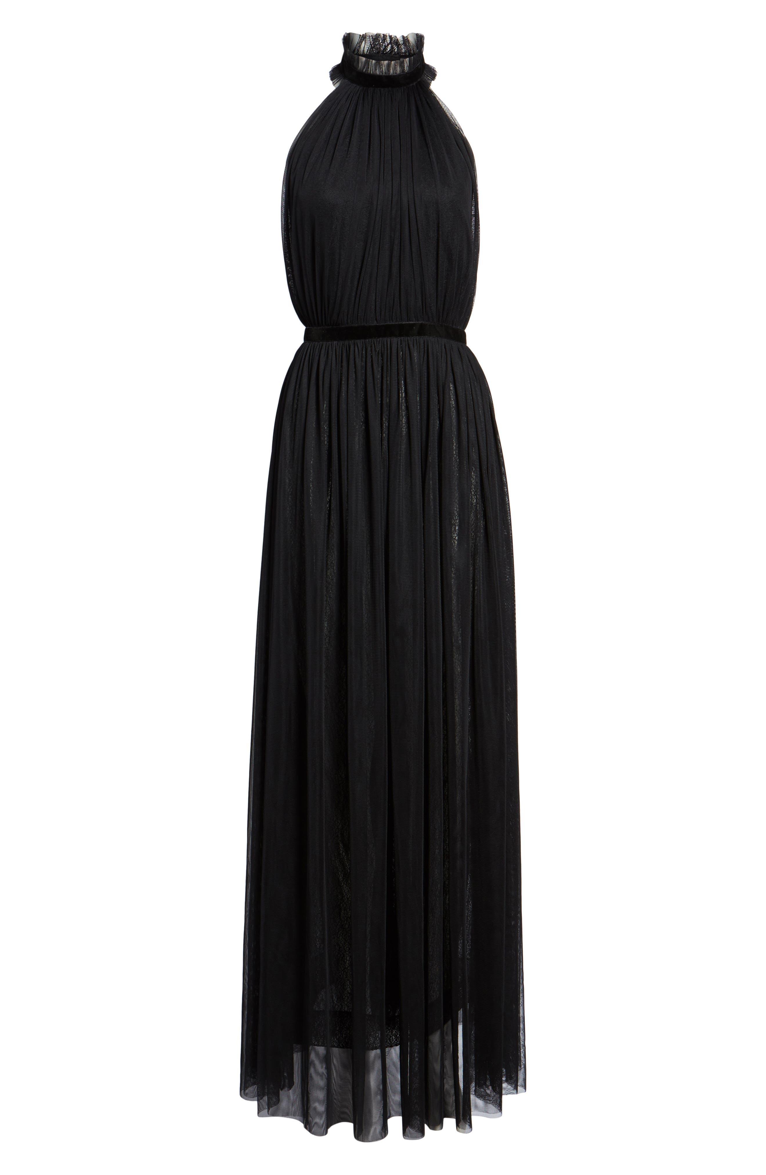 Taylor Halter Maxi Dress,                             Alternate thumbnail 6, color,                             001
