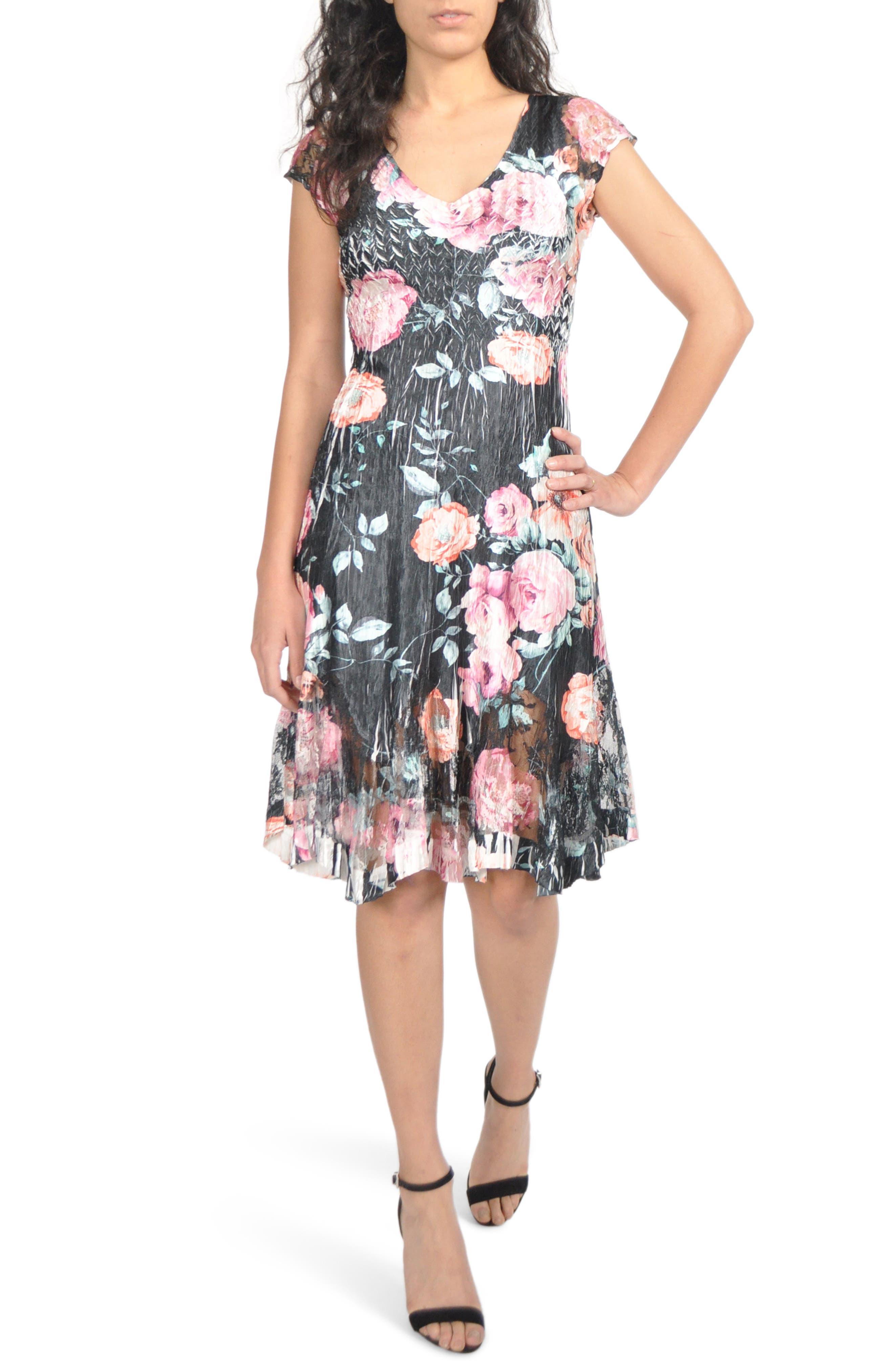 Komarov Charmeuse & Chiffon A-Line Dress, Black
