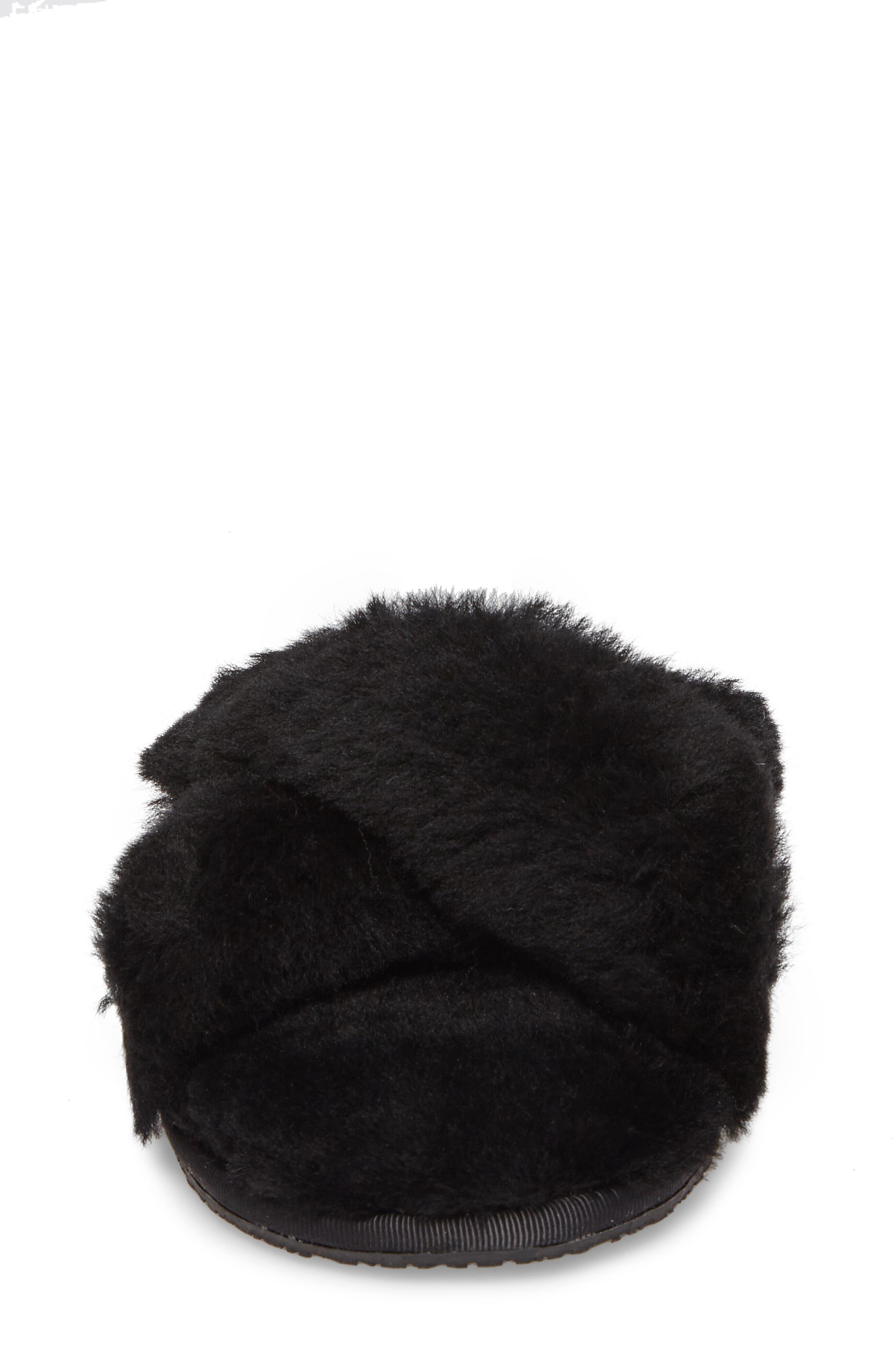 Mt. Hood Genuine Shearling Slipper,                             Alternate thumbnail 4, color,                             BLACK