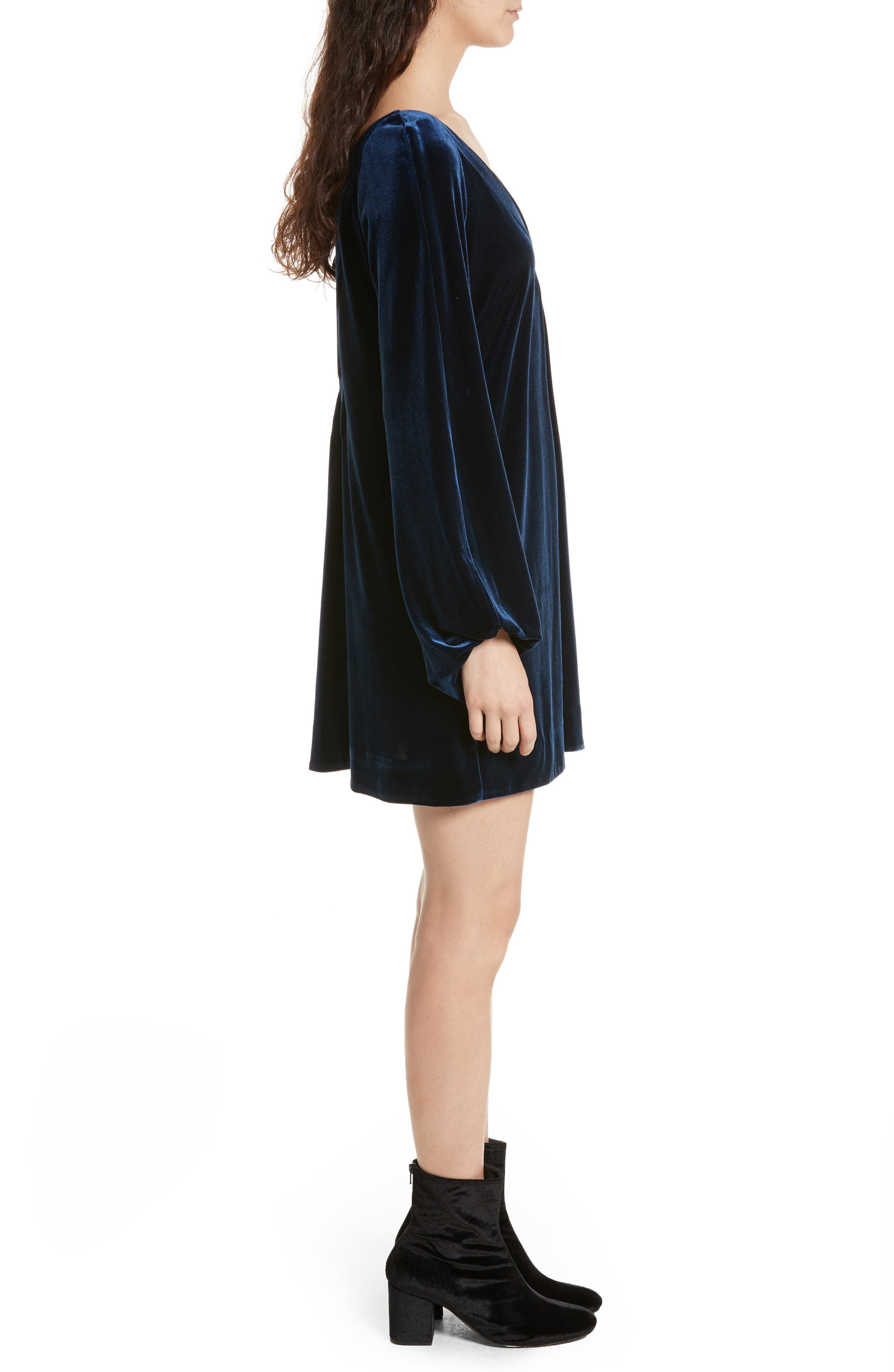 Misha Velvet Minidress,                             Alternate thumbnail 3, color,                             486