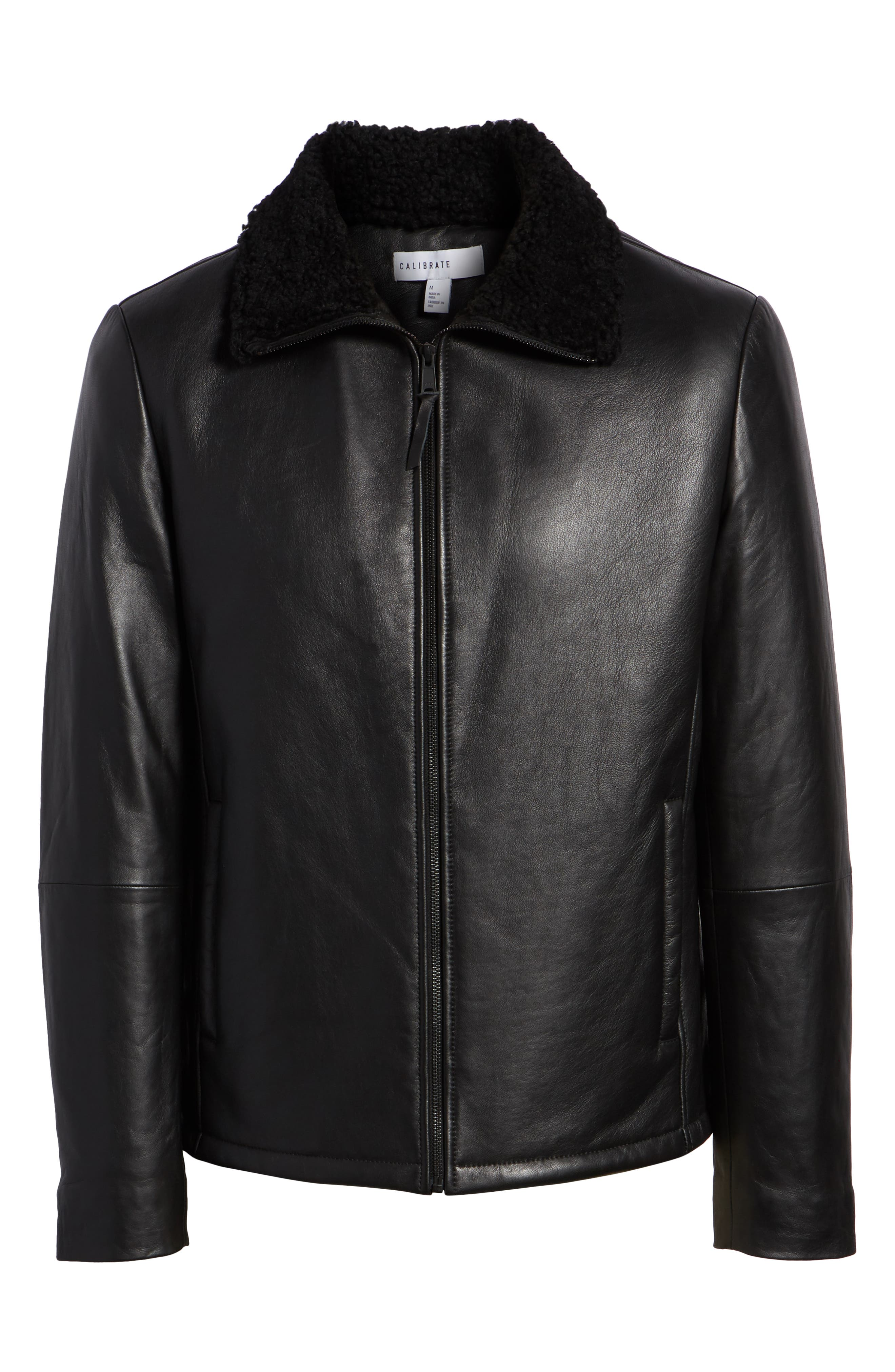Leather Jacket with Genuine Shearling Collar,                             Alternate thumbnail 5, color,                             BLACK