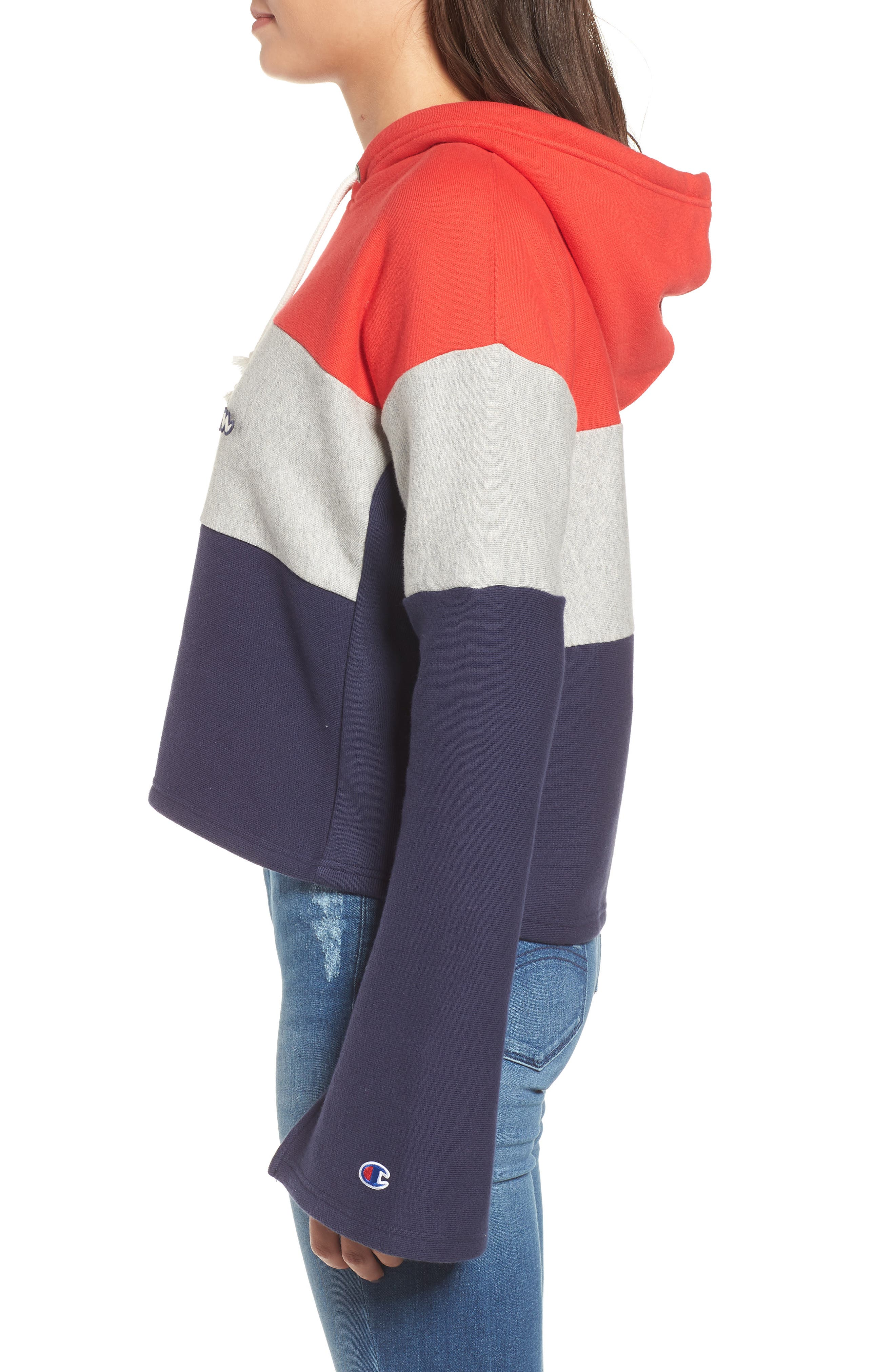 Colorblock Hoodie,                             Alternate thumbnail 3, color,                             RED SPK/ OXFRD GRY/ IMPIND