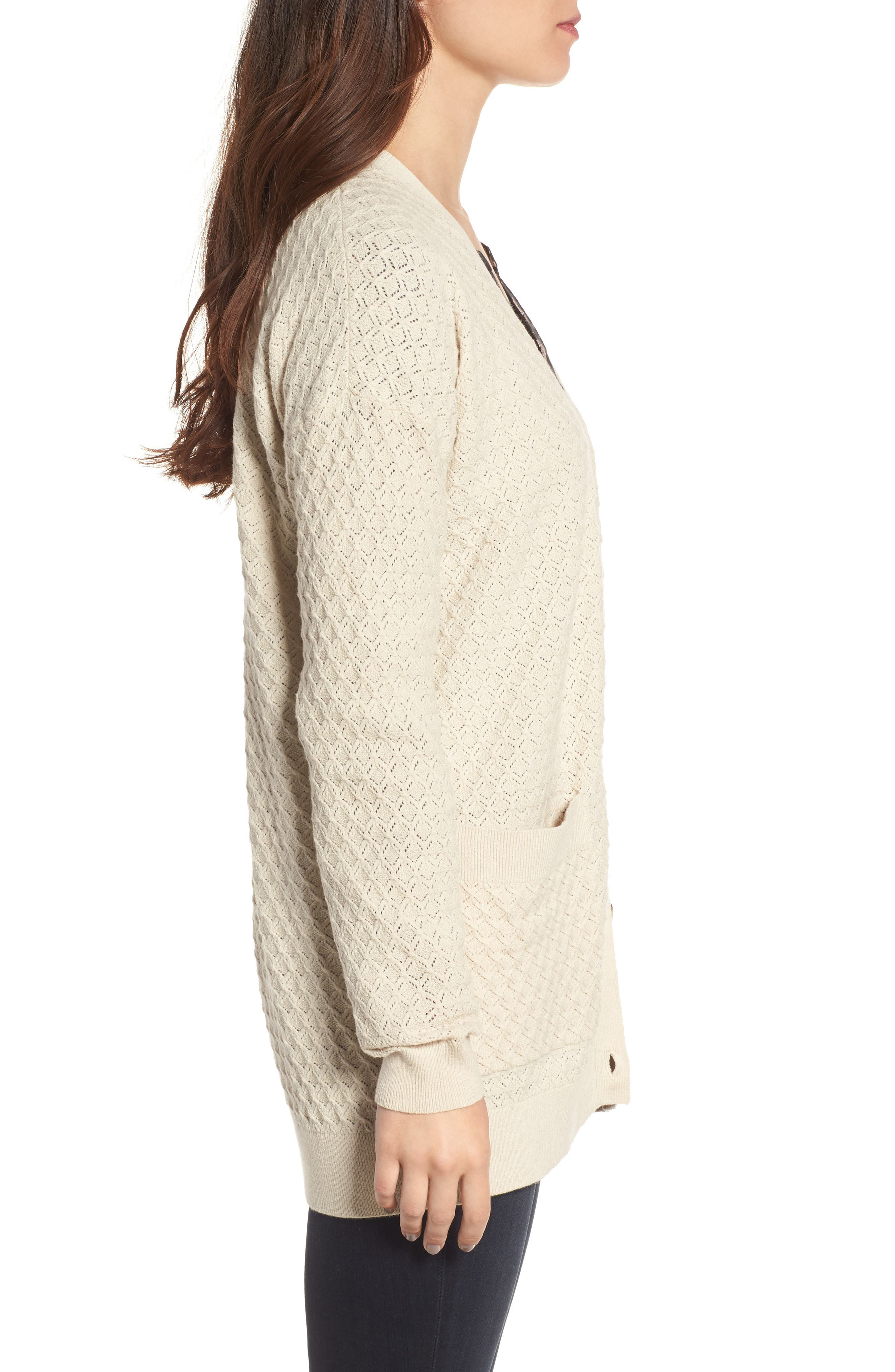 Pointelle Cardigan Sweater,                             Alternate thumbnail 10, color,