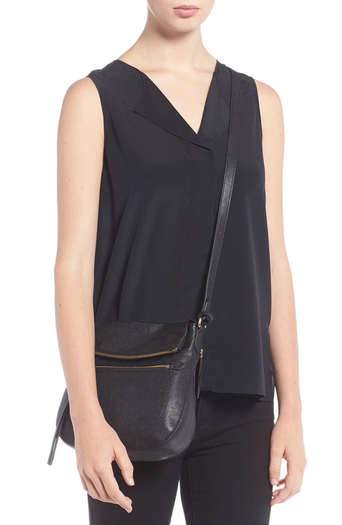 'Tala' Leather Crossbody Bag,                             Alternate thumbnail 6, color,                             001