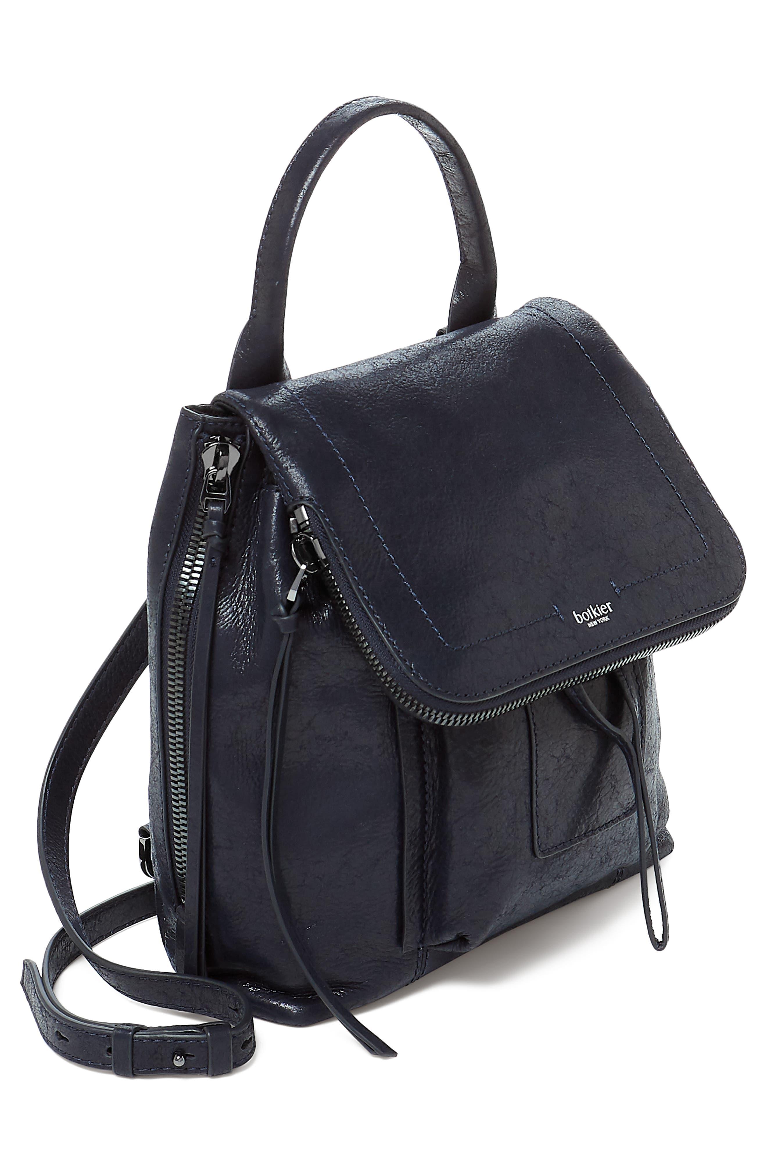 Warren Leather Backpack,                             Alternate thumbnail 3, color,                             NAVY