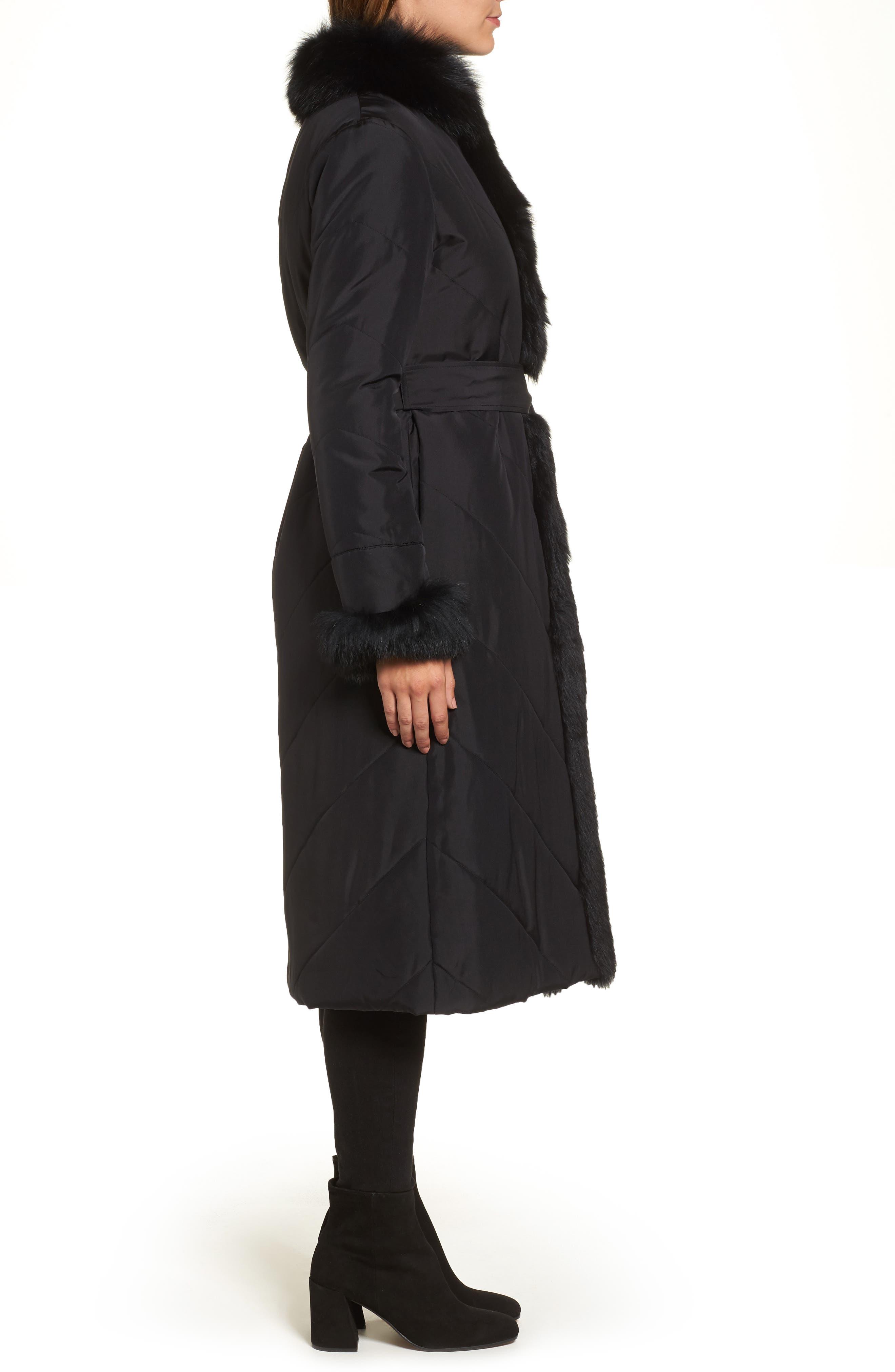 Couture Packable Silk Coat with Genuine Fox Fur & Genuine Rabbit Fur,                             Alternate thumbnail 3, color,                             001