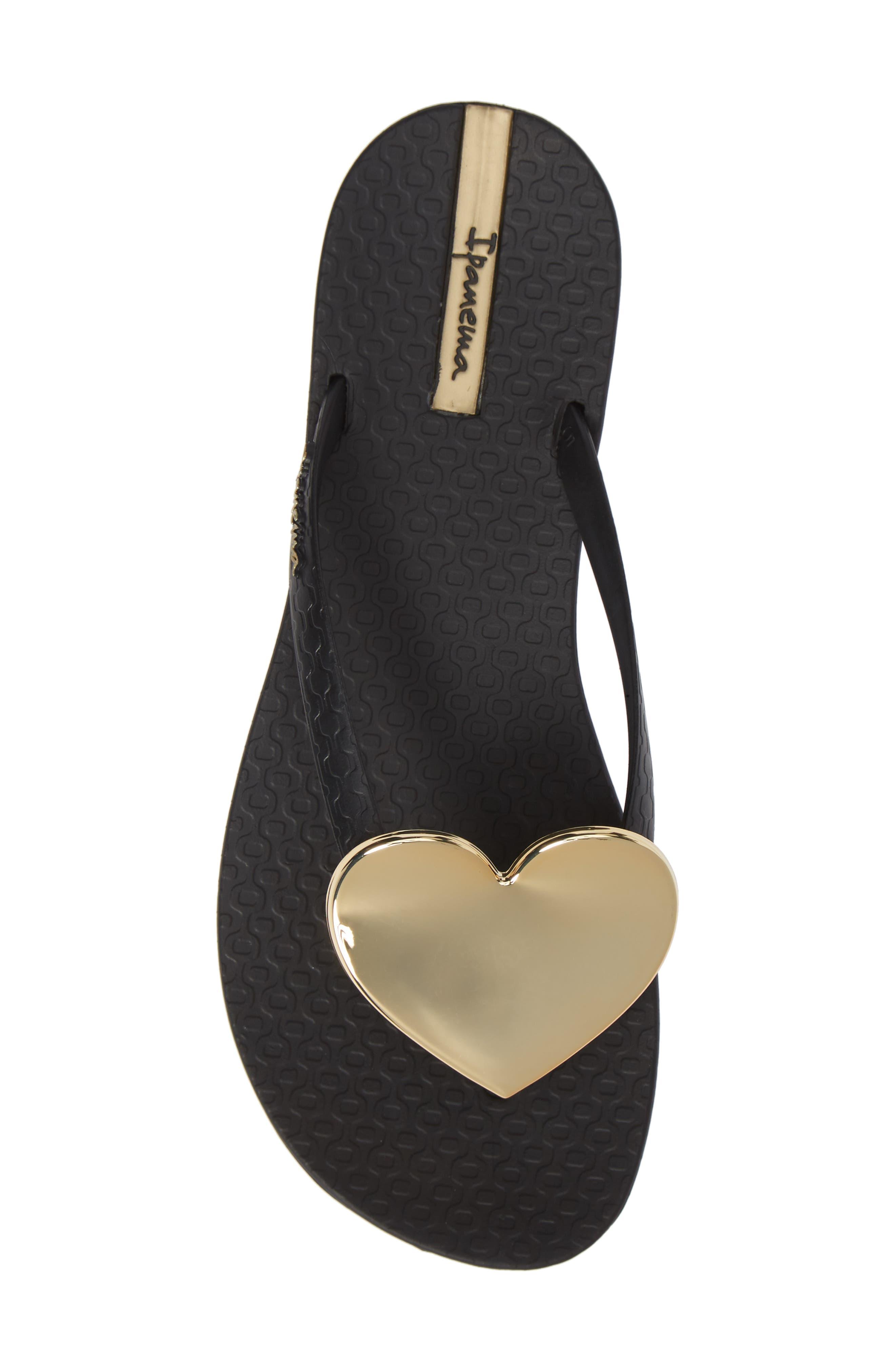 Wave Heart Flip Flop,                             Alternate thumbnail 5, color,                             BLACK/ GOLD