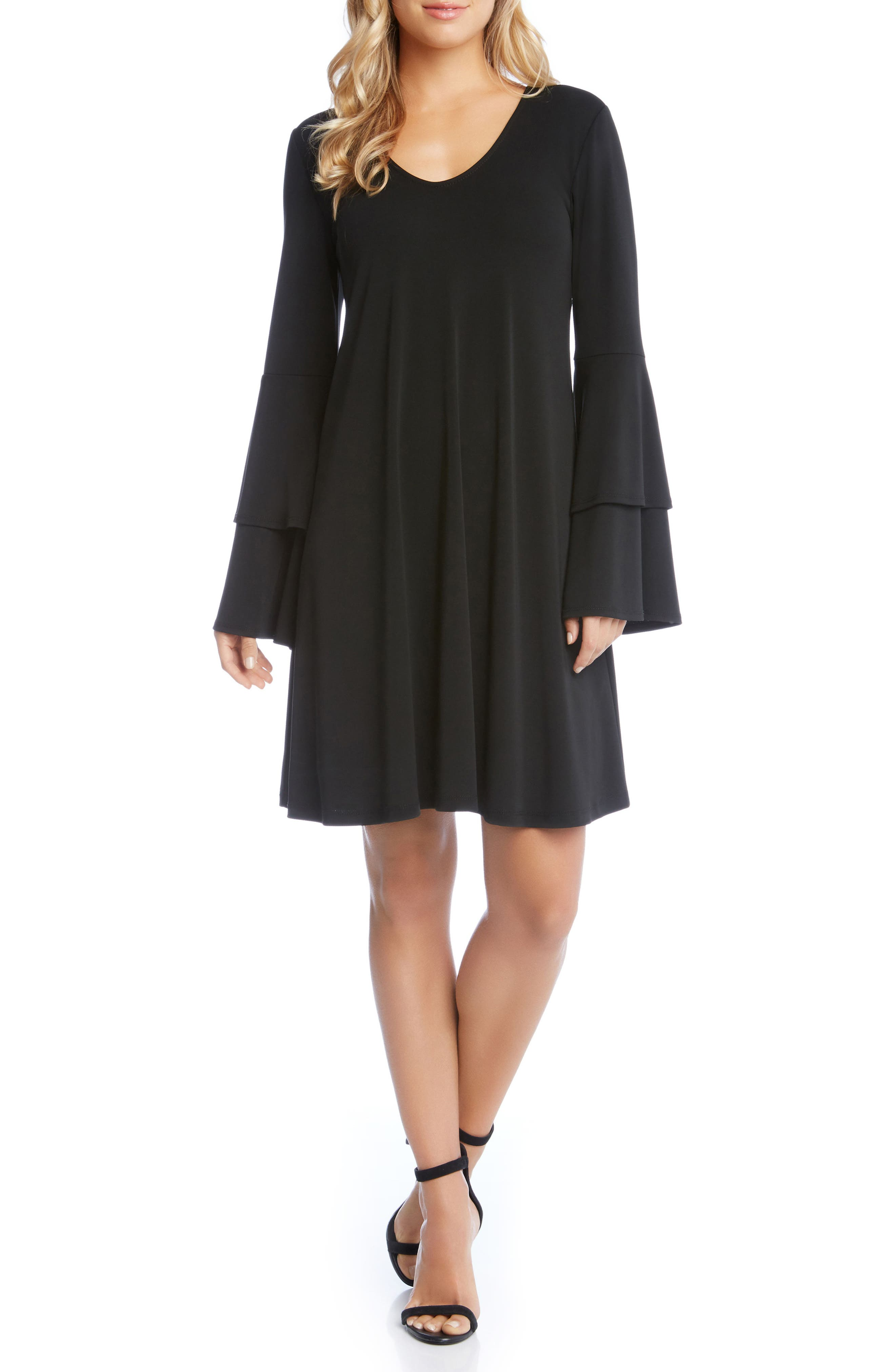 Tiered Bell Sleeve A-Line Dress,                         Main,                         color, 001
