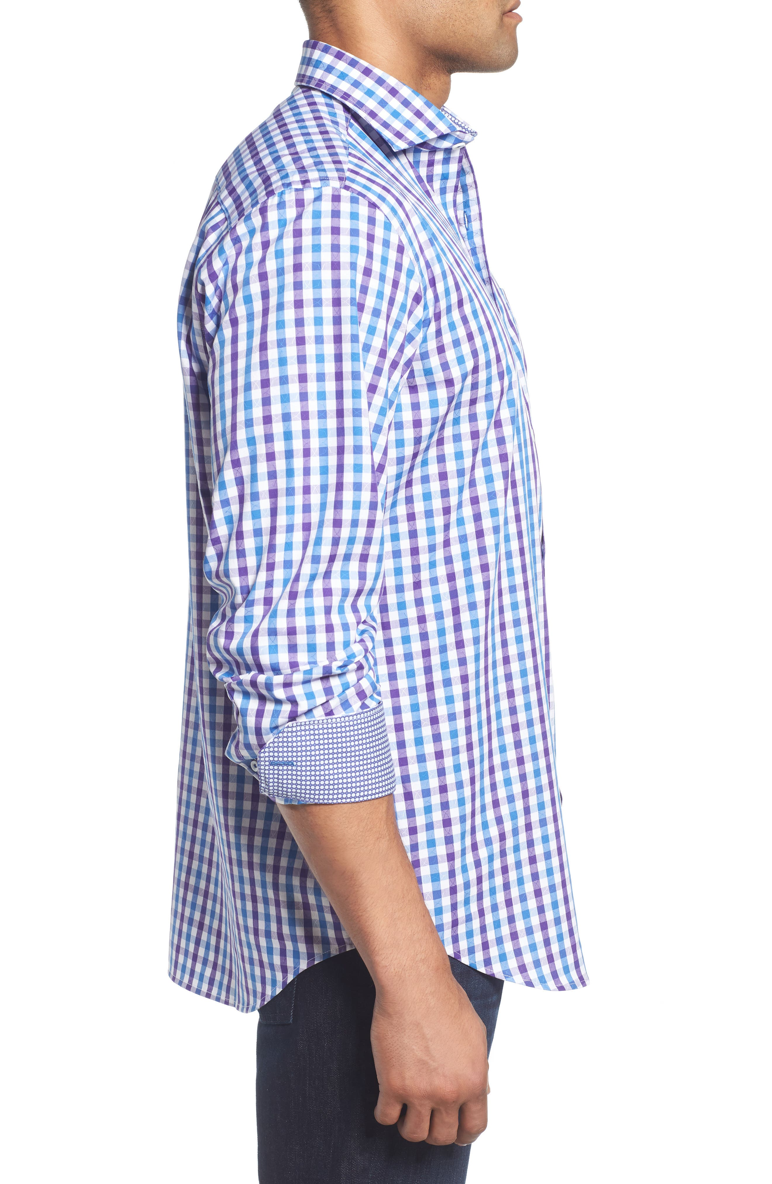Classic Fit Jacquard Check Sport Shirt,                             Alternate thumbnail 3, color,