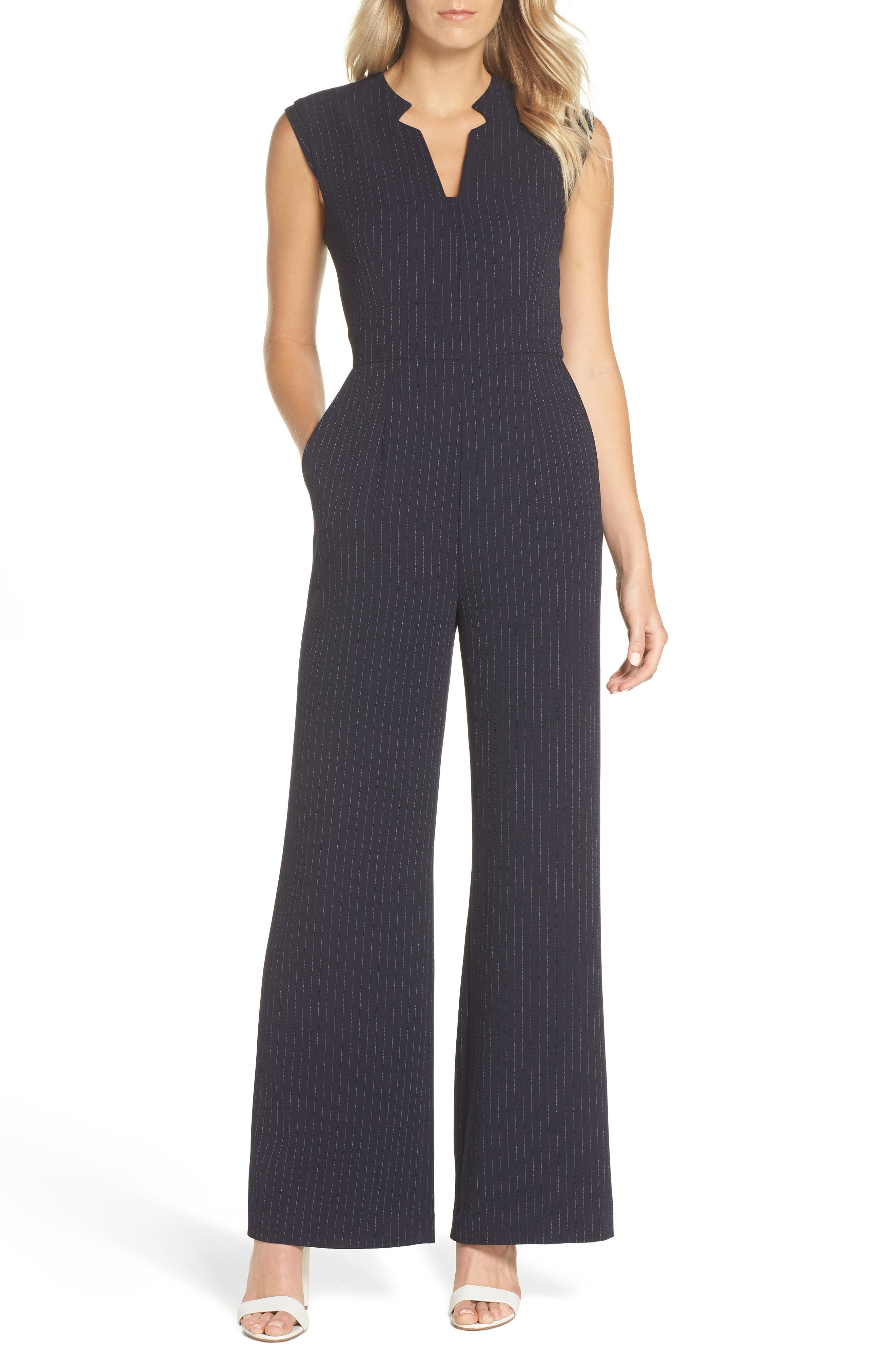 Sleeveless Pinstripe Crepe Jumpsuit,                         Main,                         color, NAVY/ IVORY