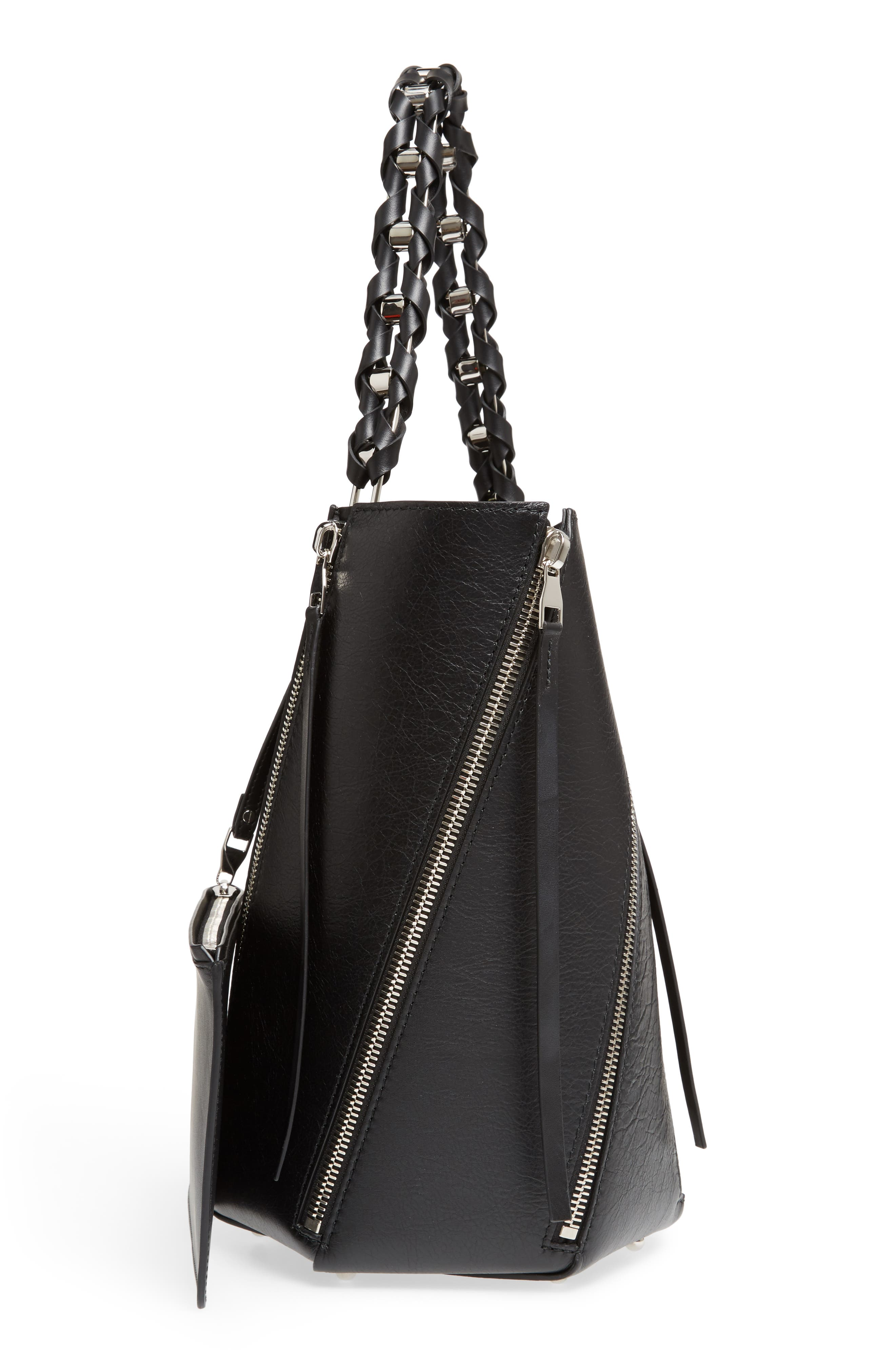 Medium Hex Zip Leather Bucket Bag,                             Alternate thumbnail 5, color,                             001