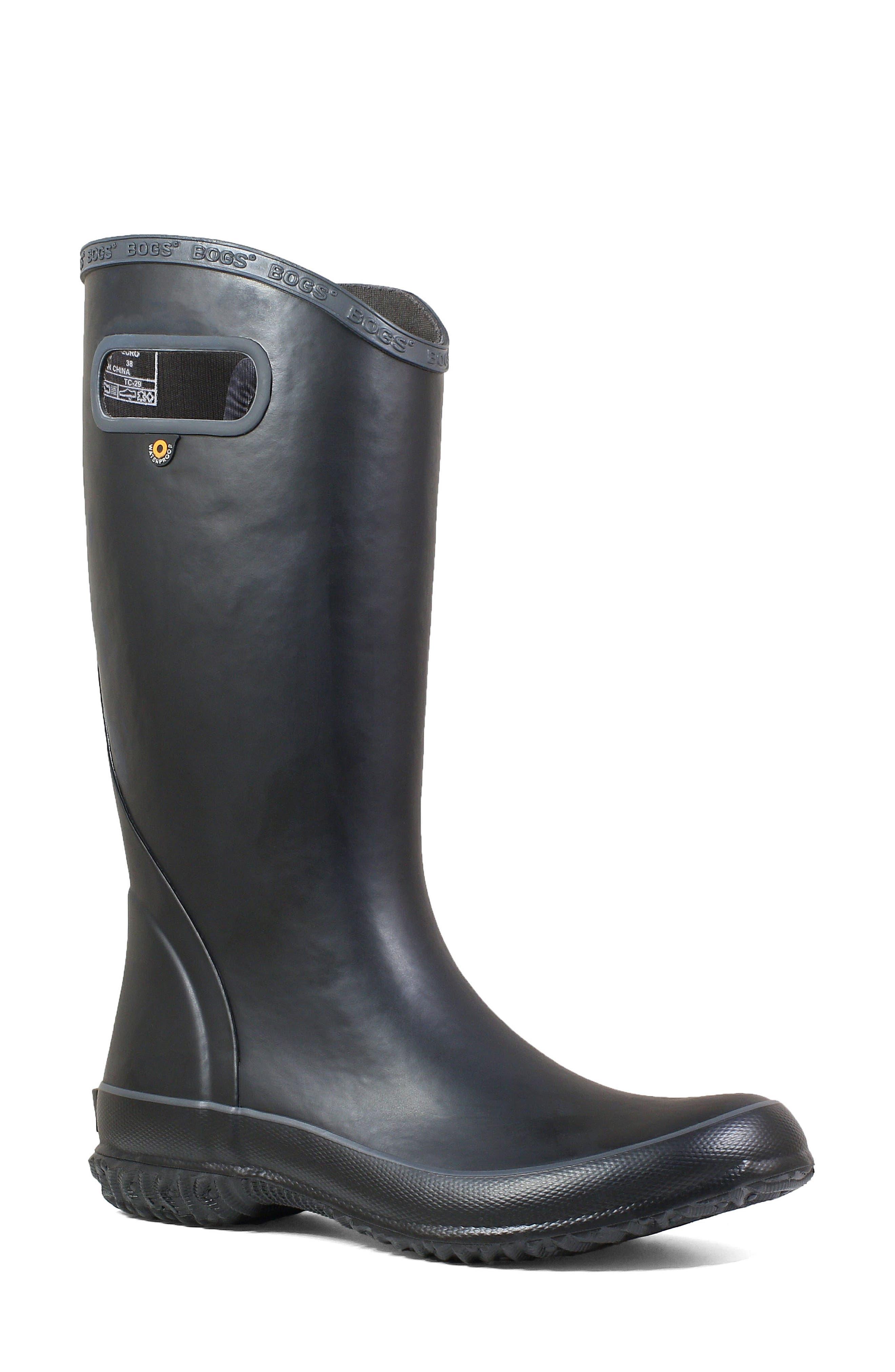 Classic Tall Waterproof Rain Boot,                             Main thumbnail 1, color,                             BLACK RUBBER