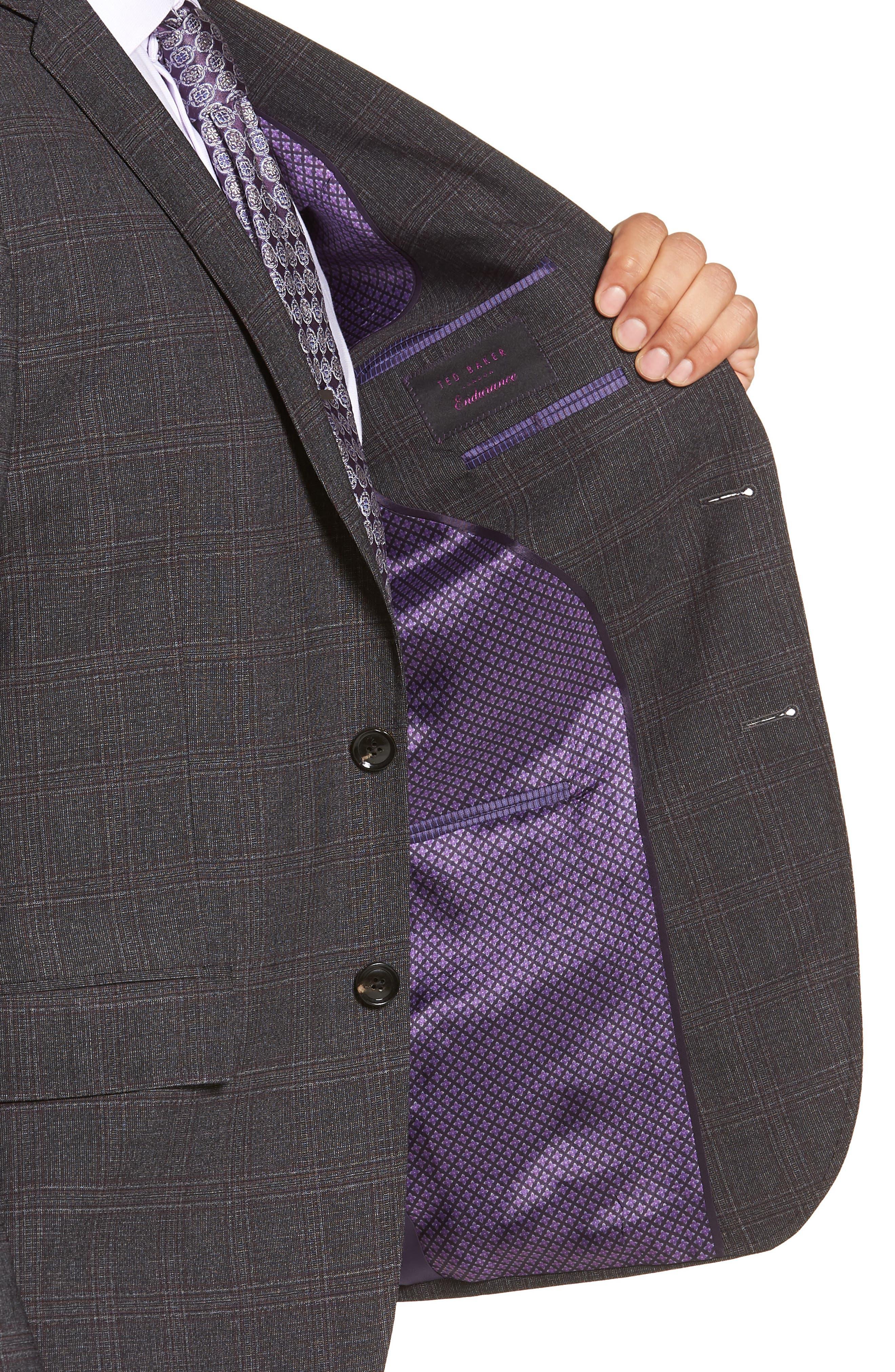 Jay Trim Fit Plaid Wool Suit,                             Alternate thumbnail 4, color,                             CHARCOAL