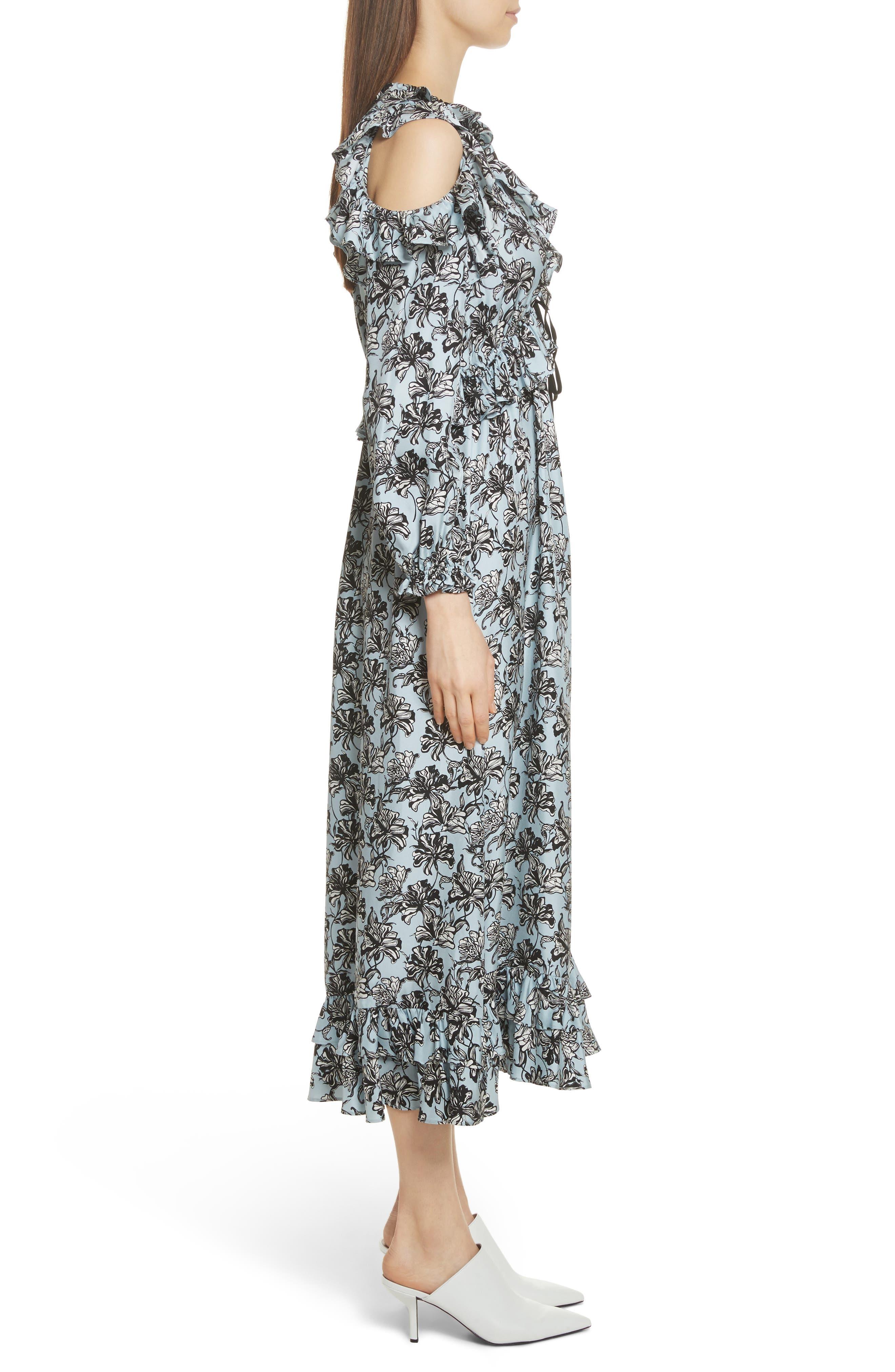Ruffle Trim Cold Shoulder Silk Dress,                             Alternate thumbnail 3, color,                             420