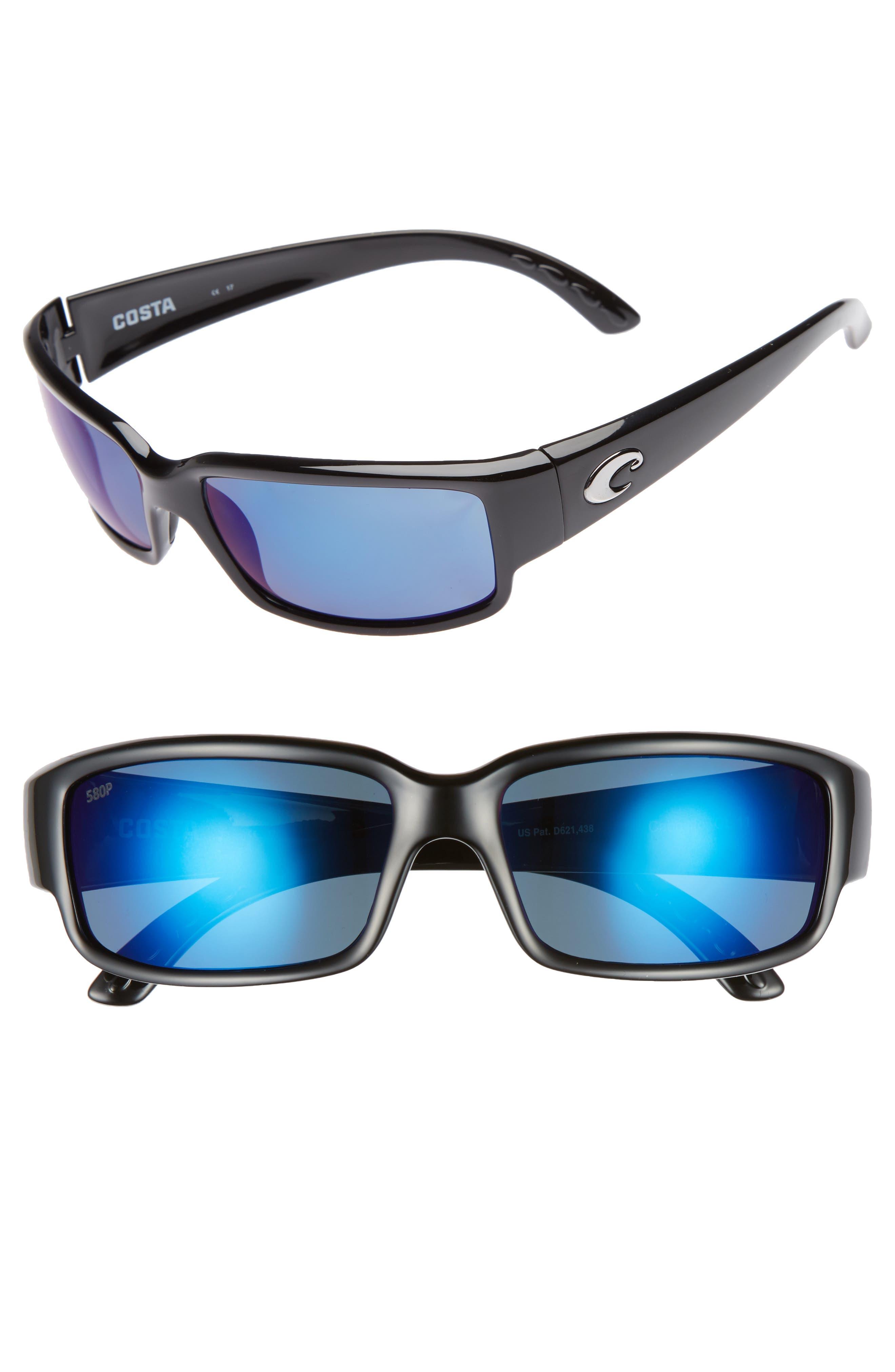 Caballito 60mm Polarized Sunglasses,                         Main,                         color, BLACK/ BLUE MIRROR