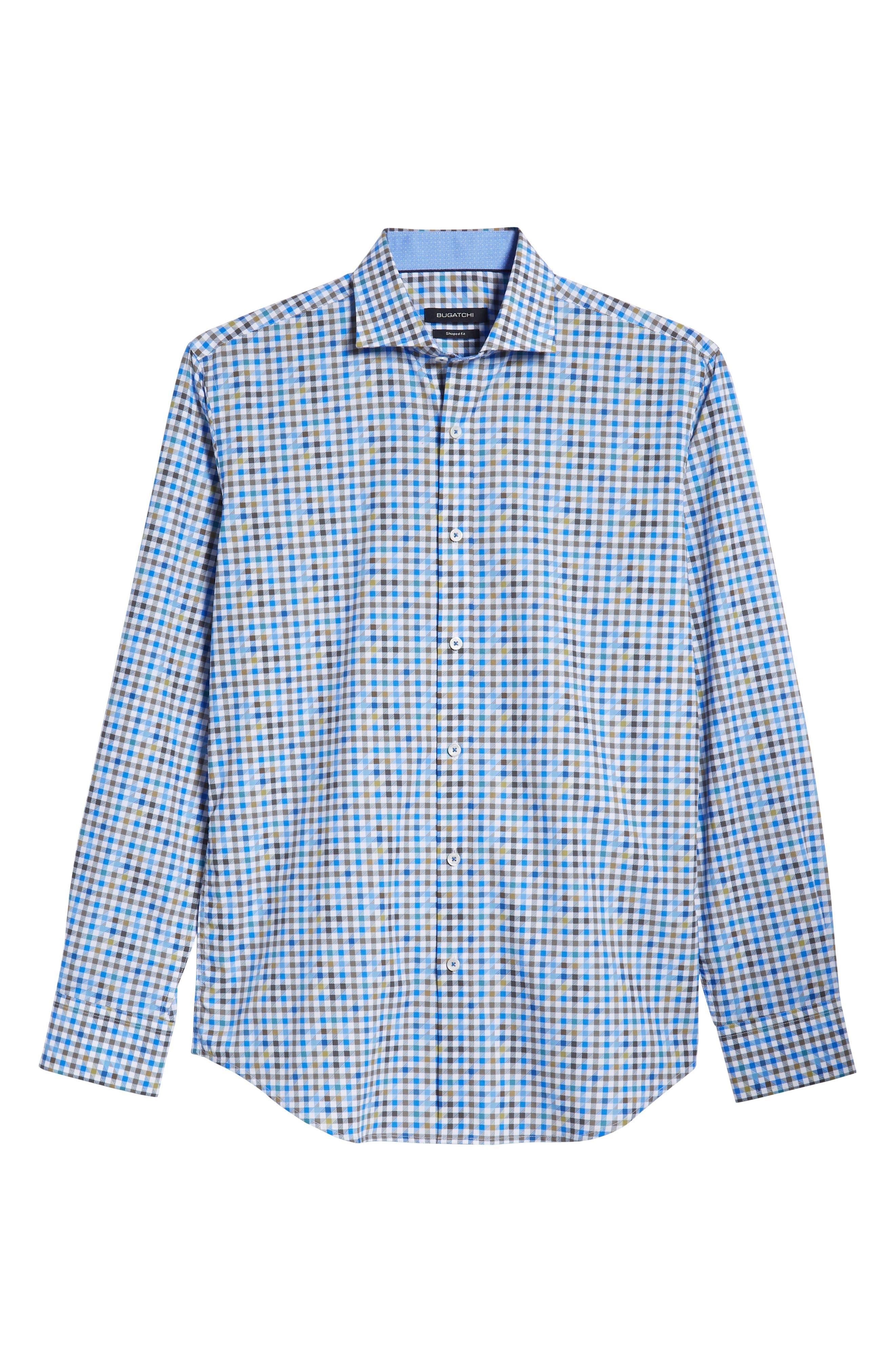 Shaped Fit Print Sport Shirt,                             Alternate thumbnail 5, color,                             OLIVE
