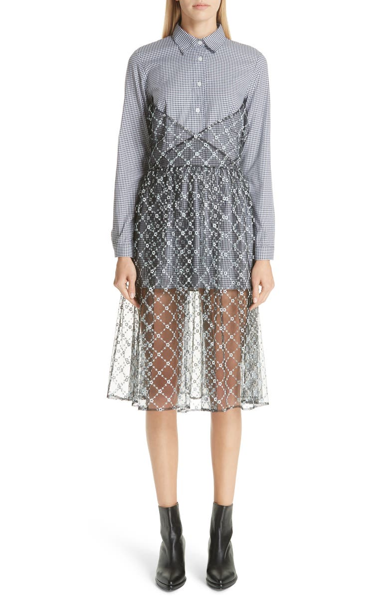 Sandy Liang Cottons EMBROIDERED OVERLAY SHIRTDRESS