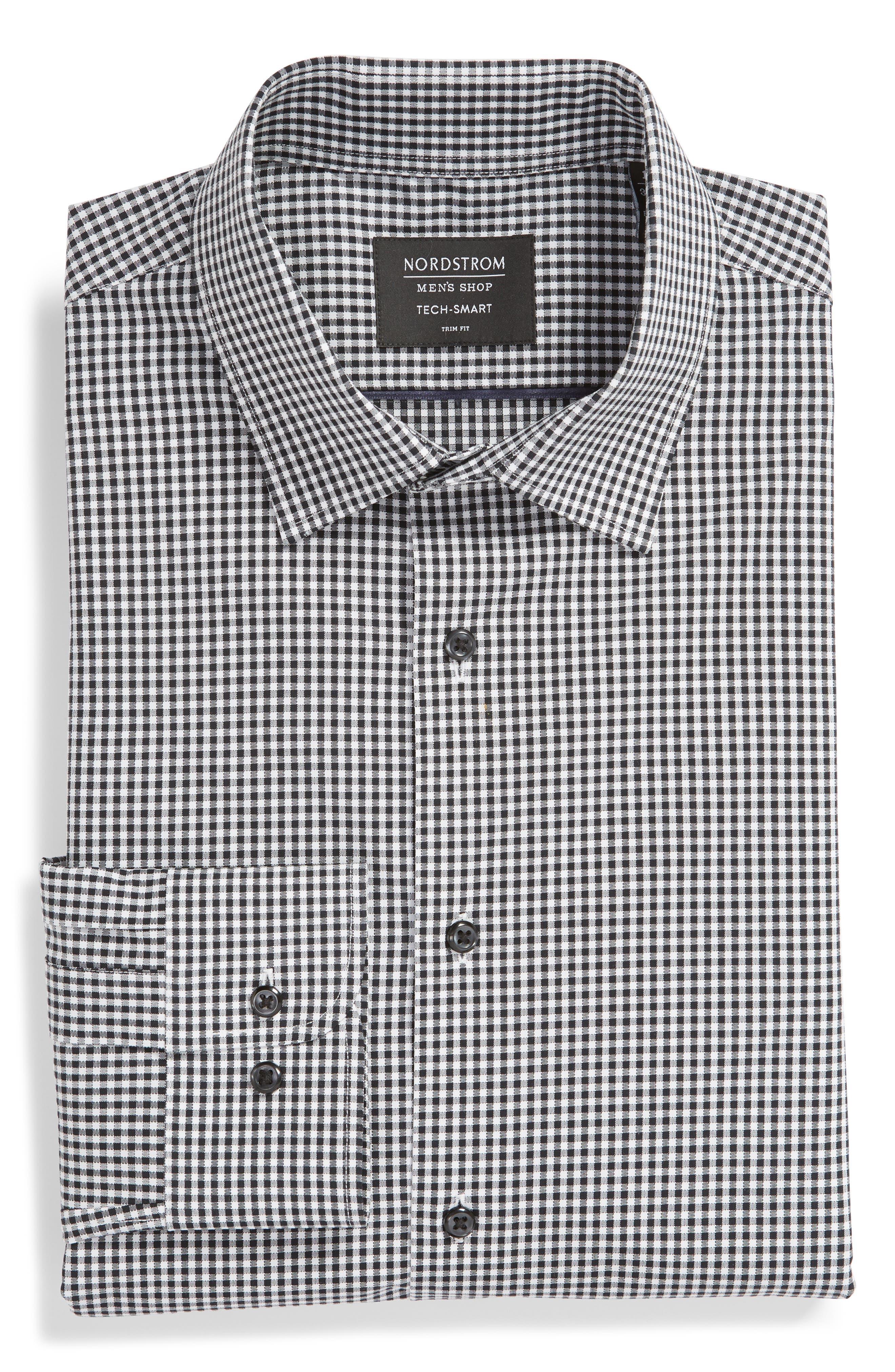 Tech-Smart Trim Fit Stretch Check Dress Shirt,                             Alternate thumbnail 5, color,                             BLACK ROCK