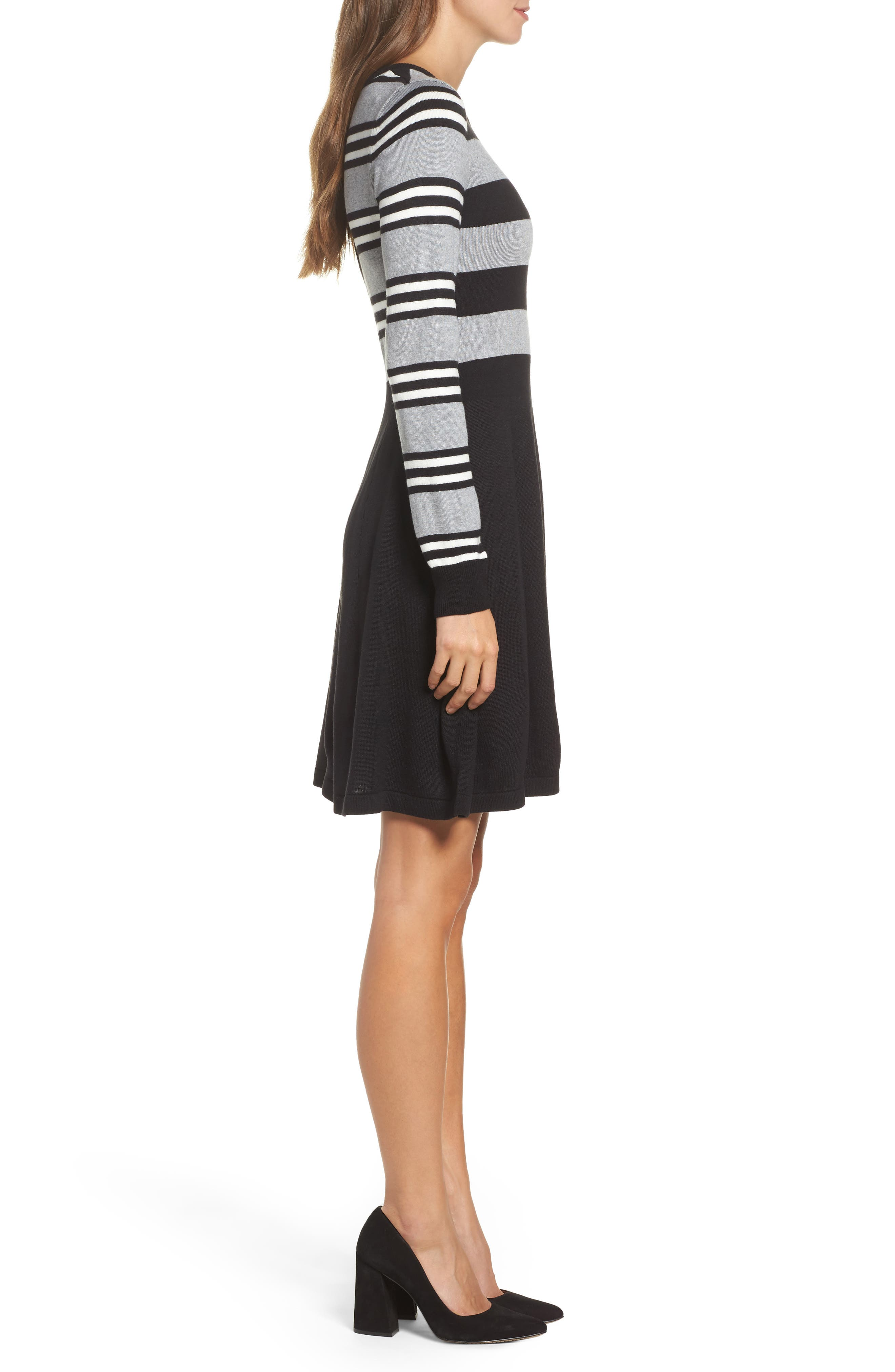 Fit & Flare Sweater Dress,                             Alternate thumbnail 3, color,                             003
