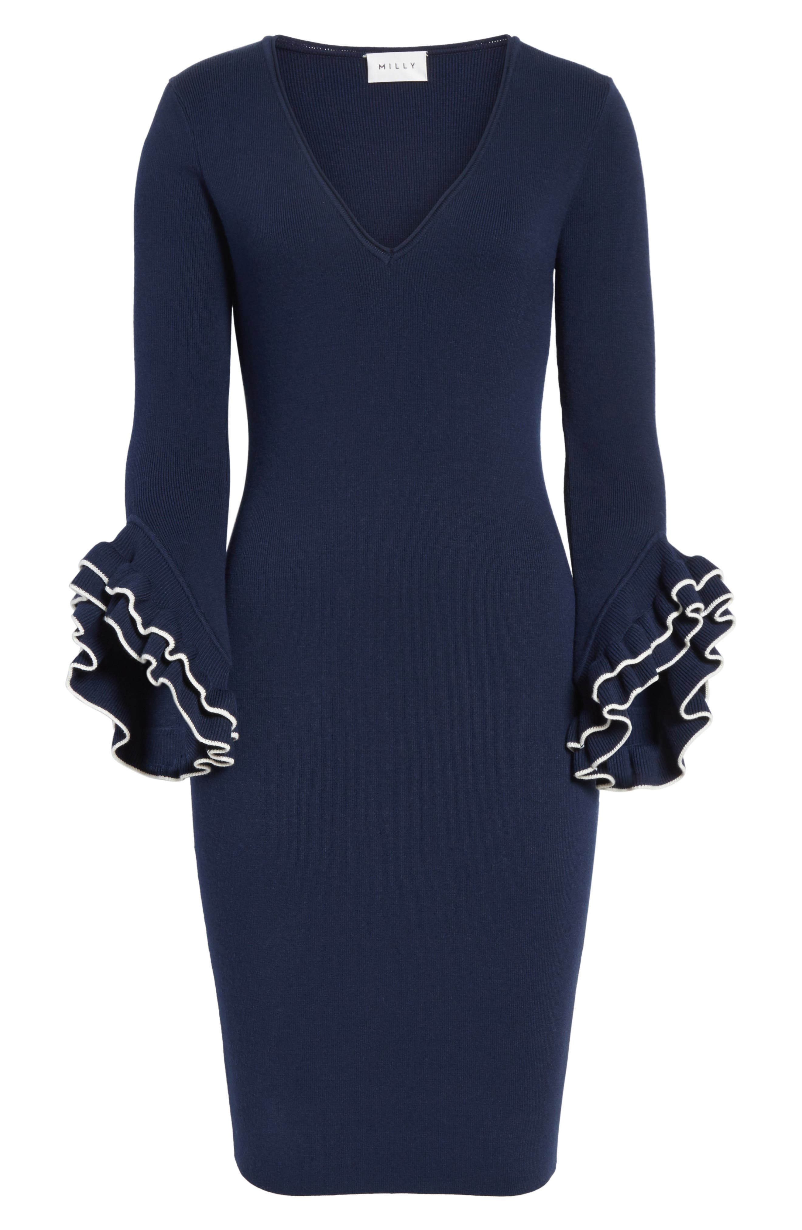 Ruffle Sleeve Sheath Dress,                             Alternate thumbnail 6, color,                             473