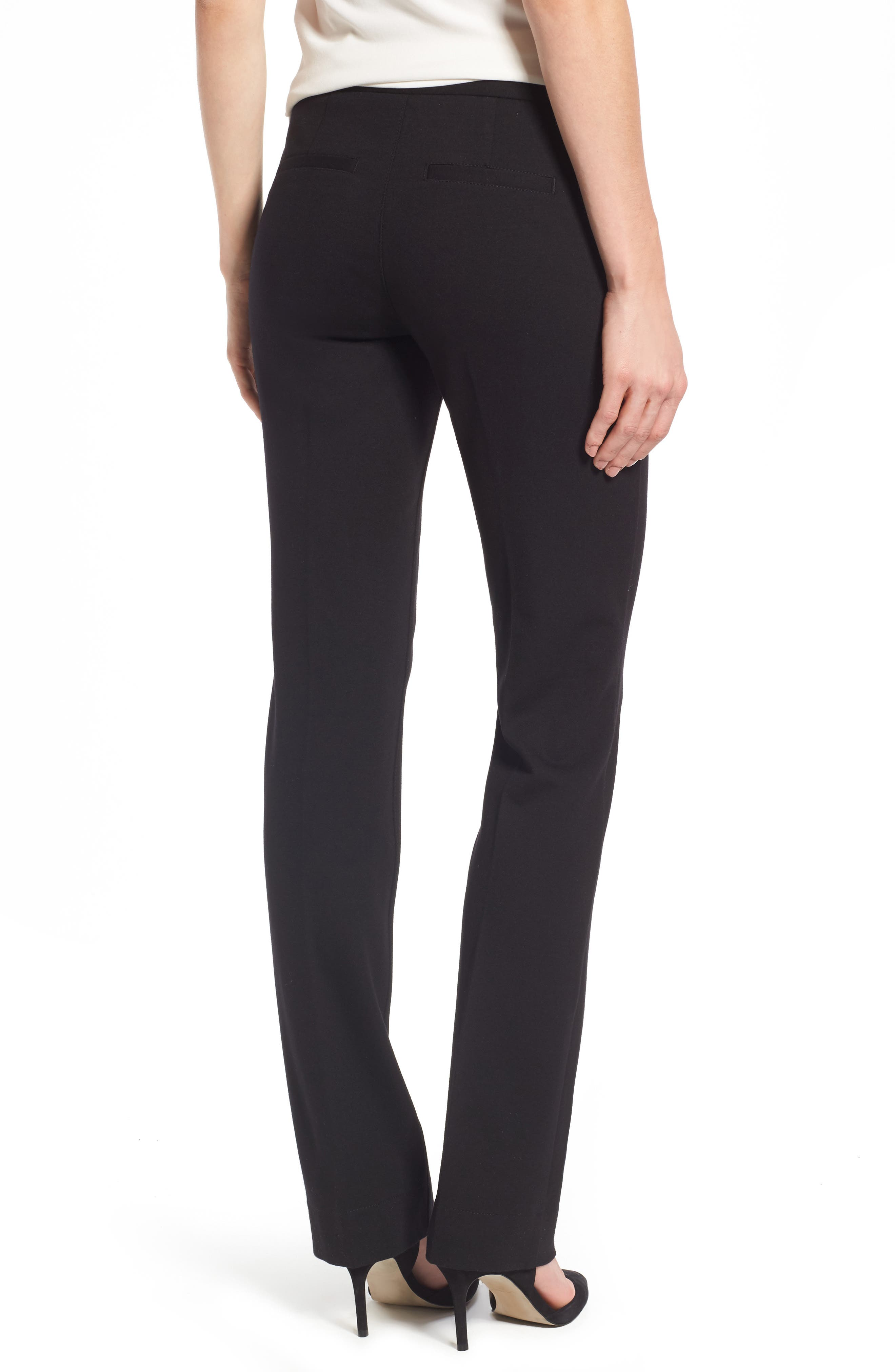 Stretch Knit Trousers,                             Alternate thumbnail 2, color,                             BLACK