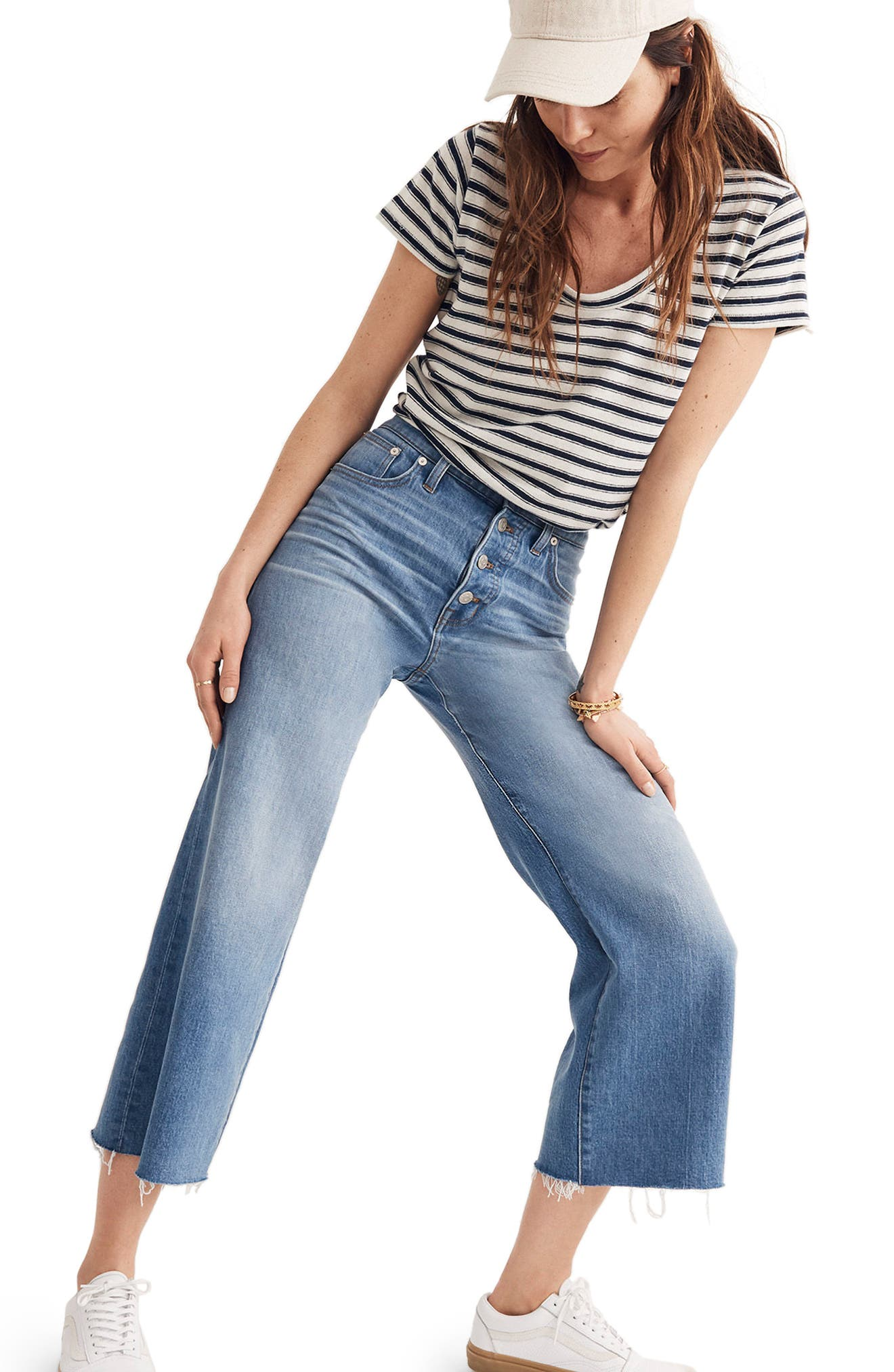 Button Front Wide Leg Crop Jeans,                             Alternate thumbnail 8, color,                             MARTINA WASH