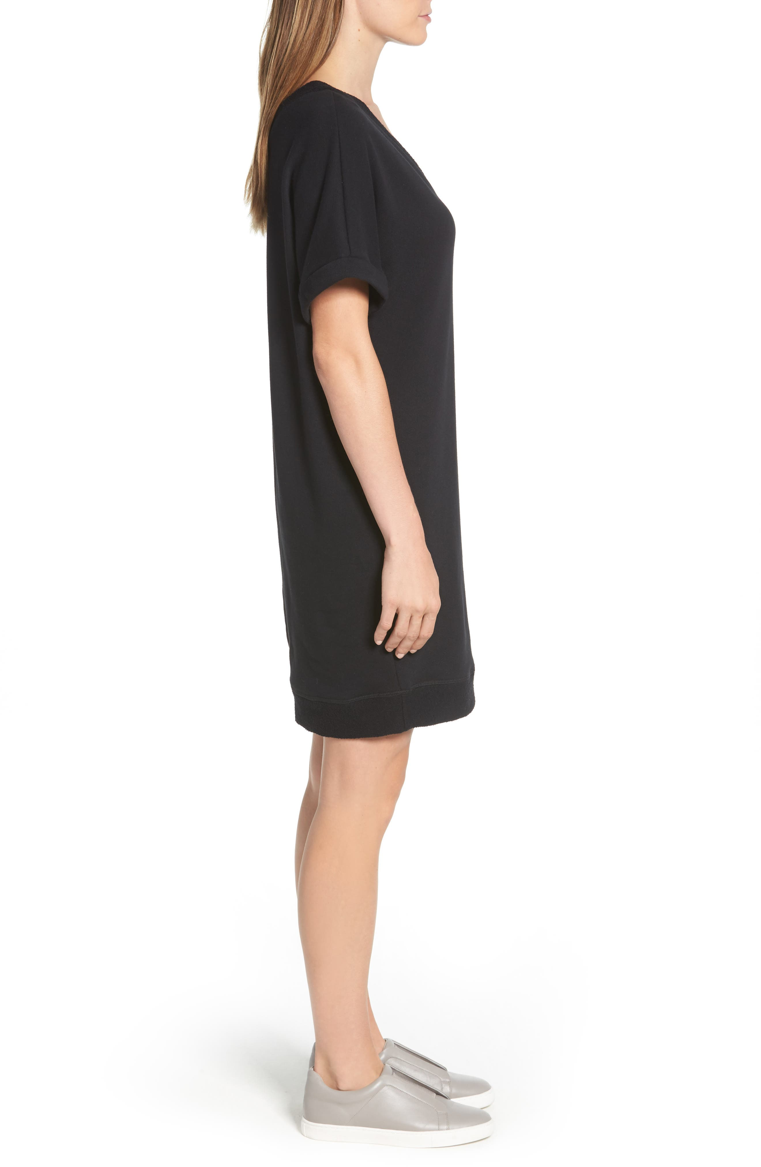CASLON<SUP>®</SUP>,                             Off-Duty French Terry Dress,                             Alternate thumbnail 3, color,                             001
