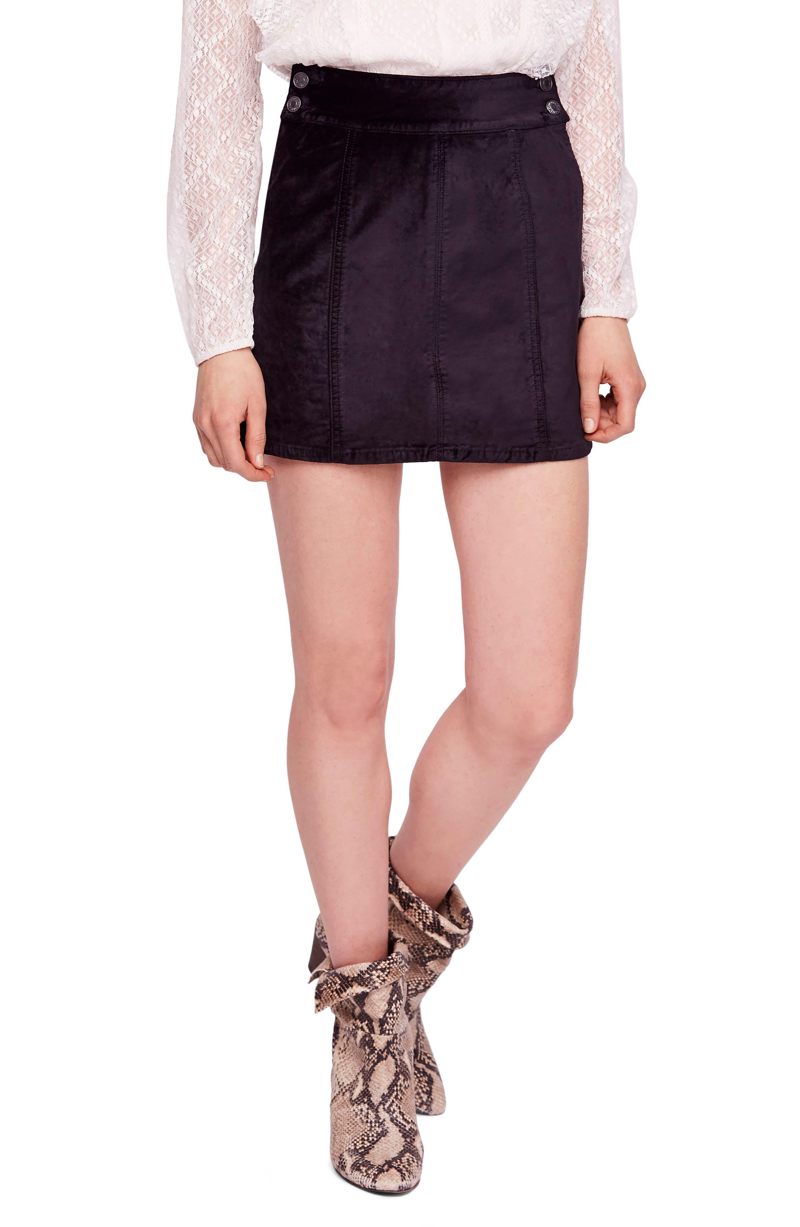 Free People Velvet Miniskirt, Black