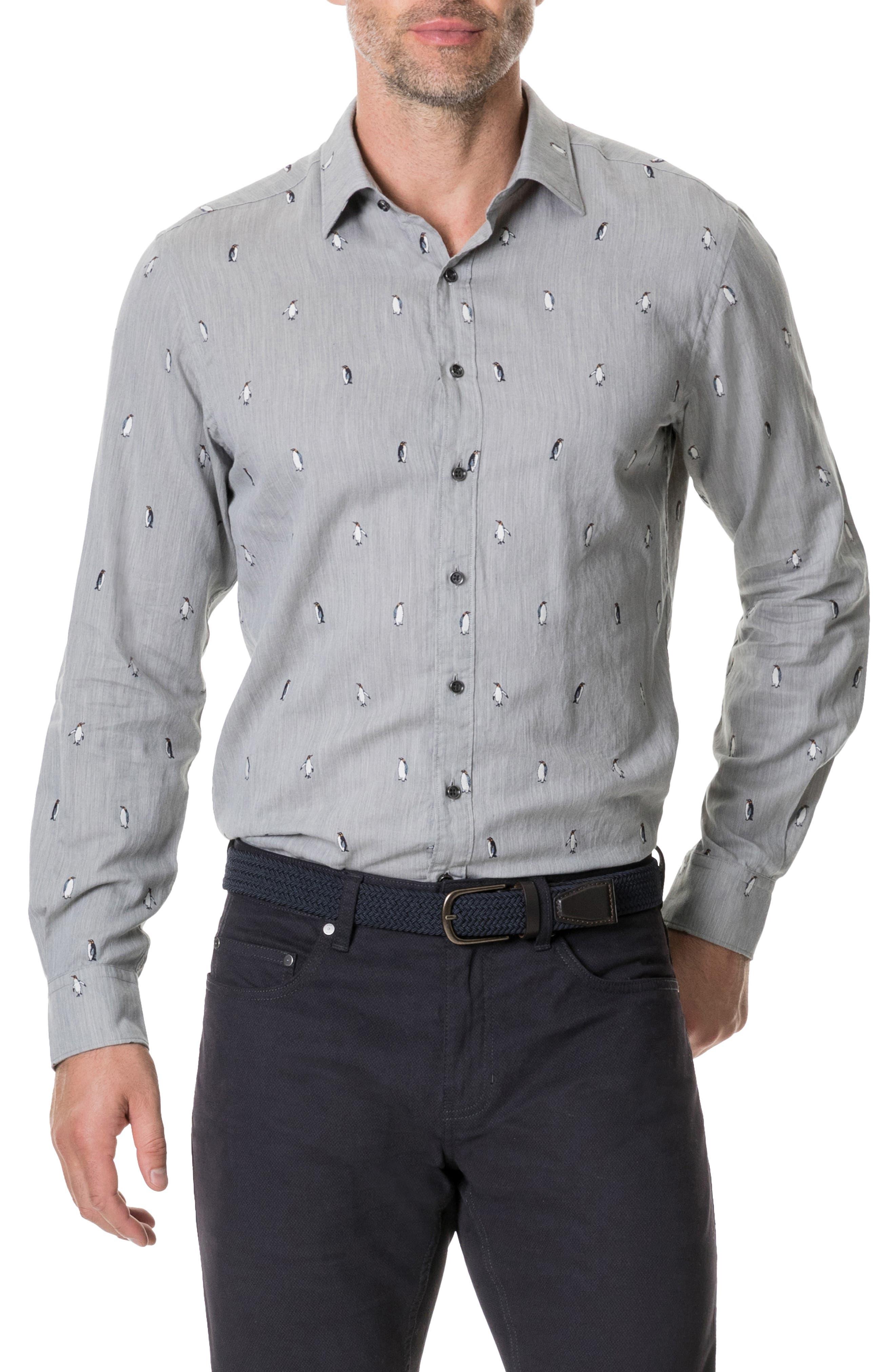 Hillersden Regular Fit Penguin Sport Shirt,                             Main thumbnail 1, color,                             PEBBLE