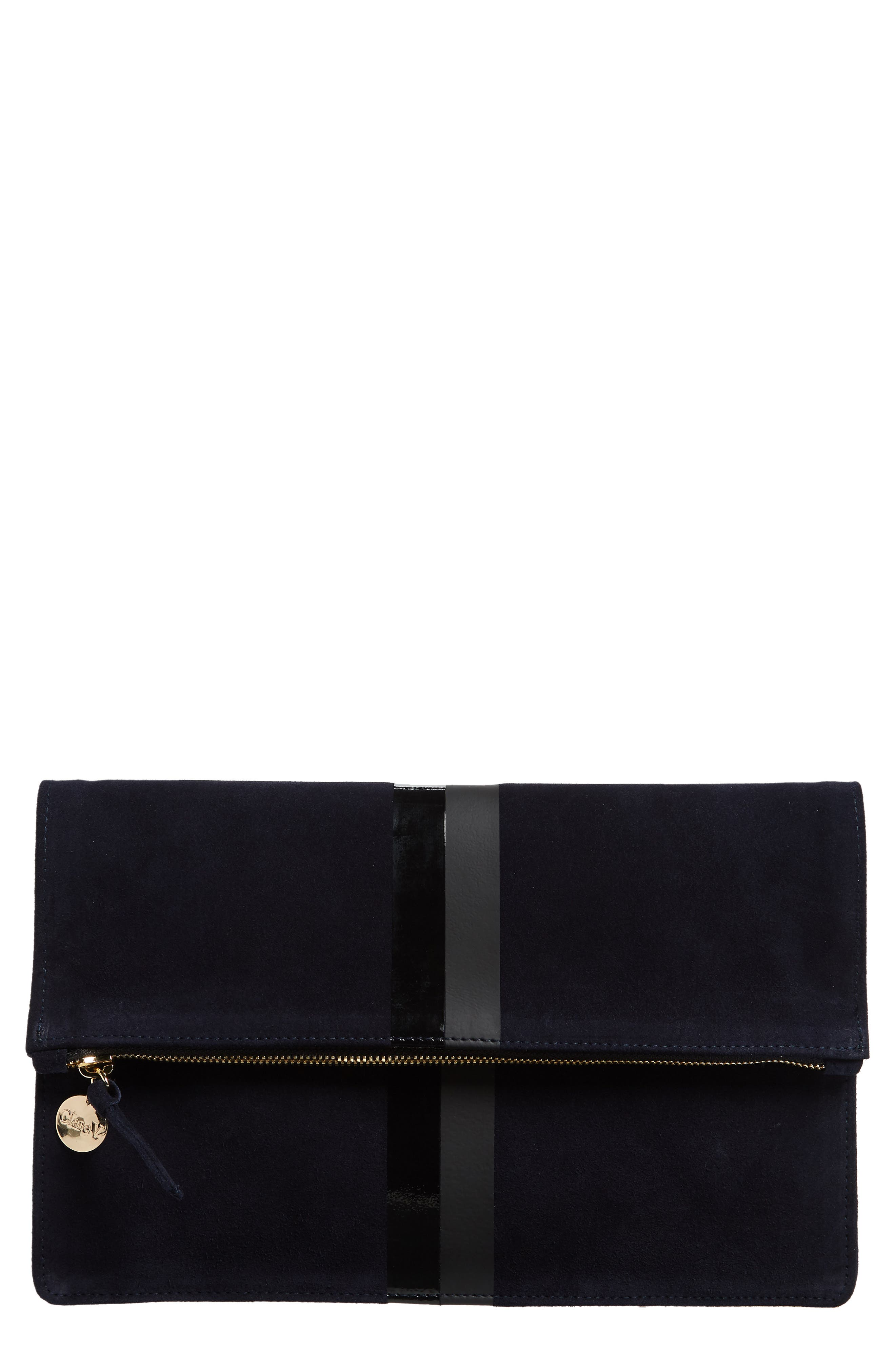 Margot Suede Foldover Clutch,                             Main thumbnail 1, color,                             NAVY
