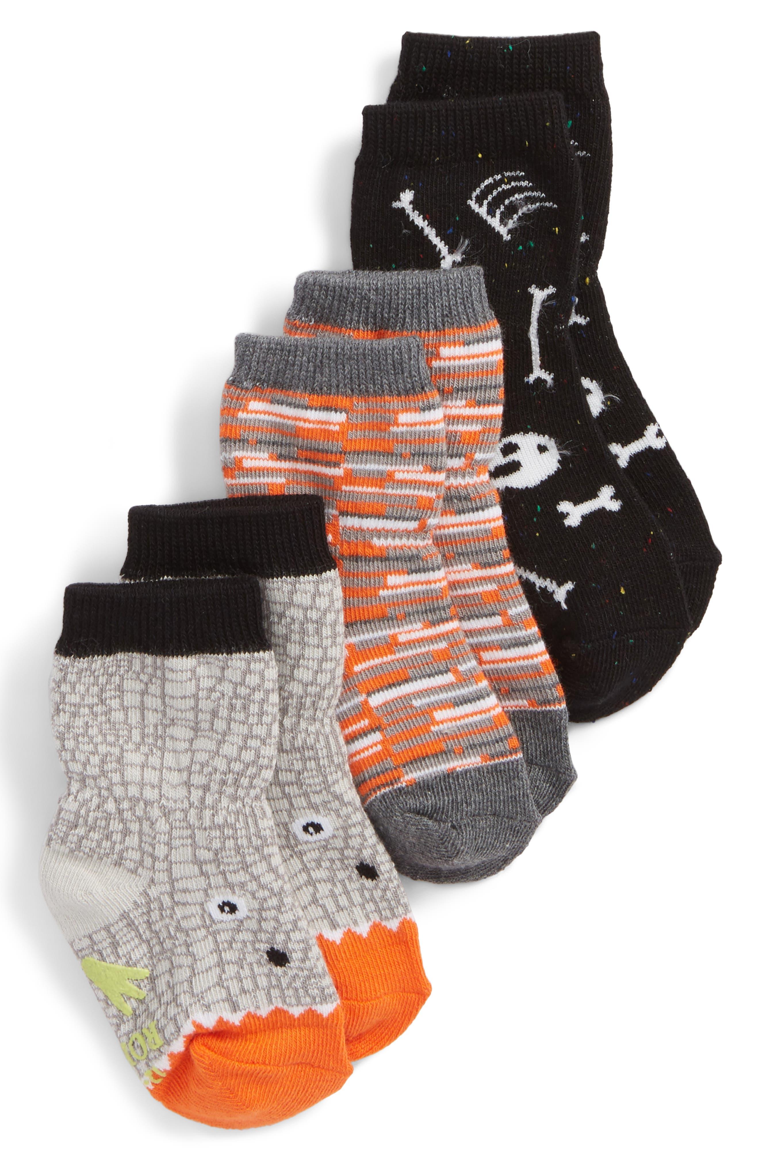 Dino Dan 3-Pack Socks,                             Main thumbnail 1, color,                             GRAY/ ORANGE/ GLOW-IN-THE-DARK