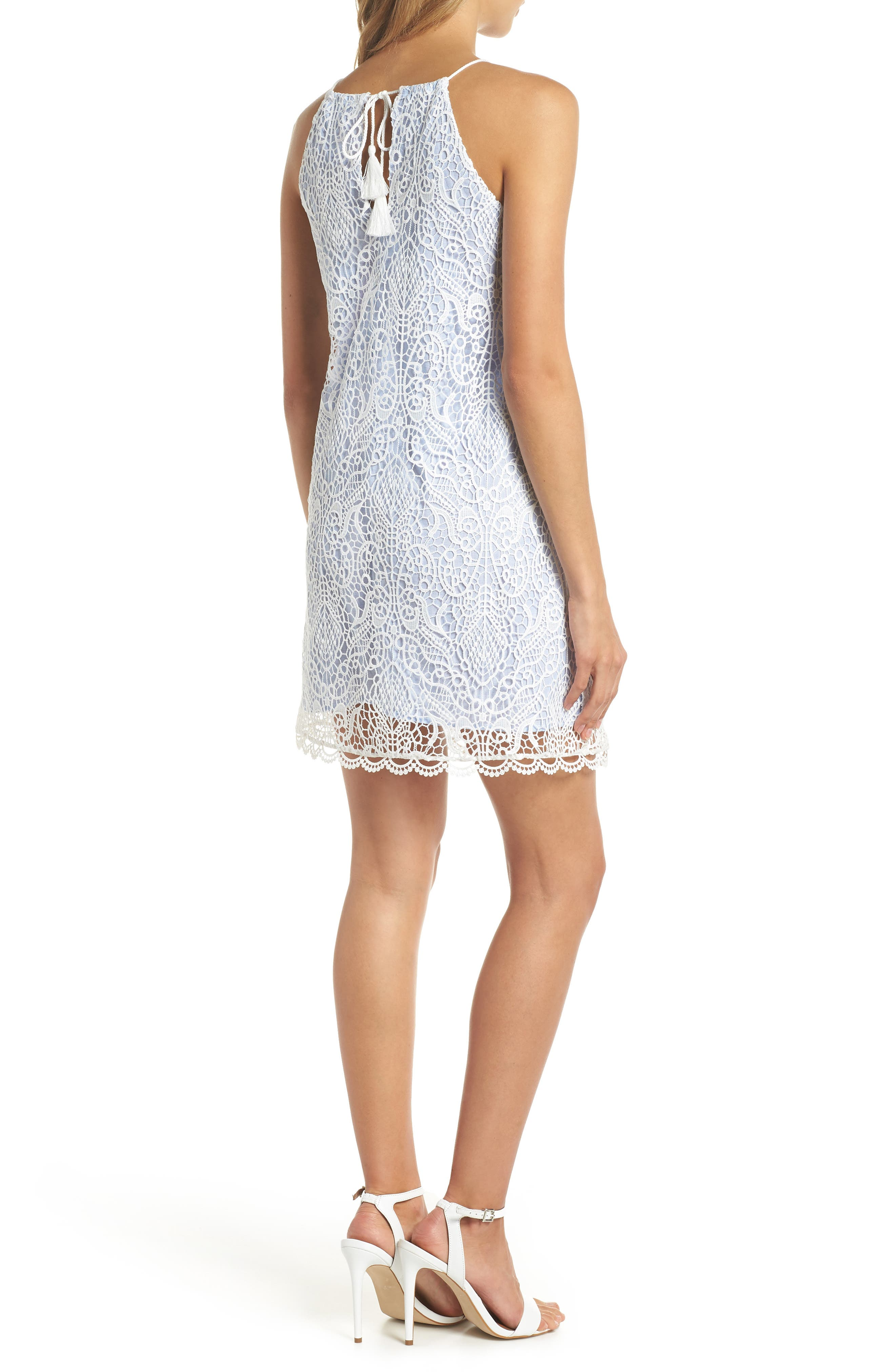 Pinstripe Cotton Lace Shift Dress,                             Alternate thumbnail 2, color,