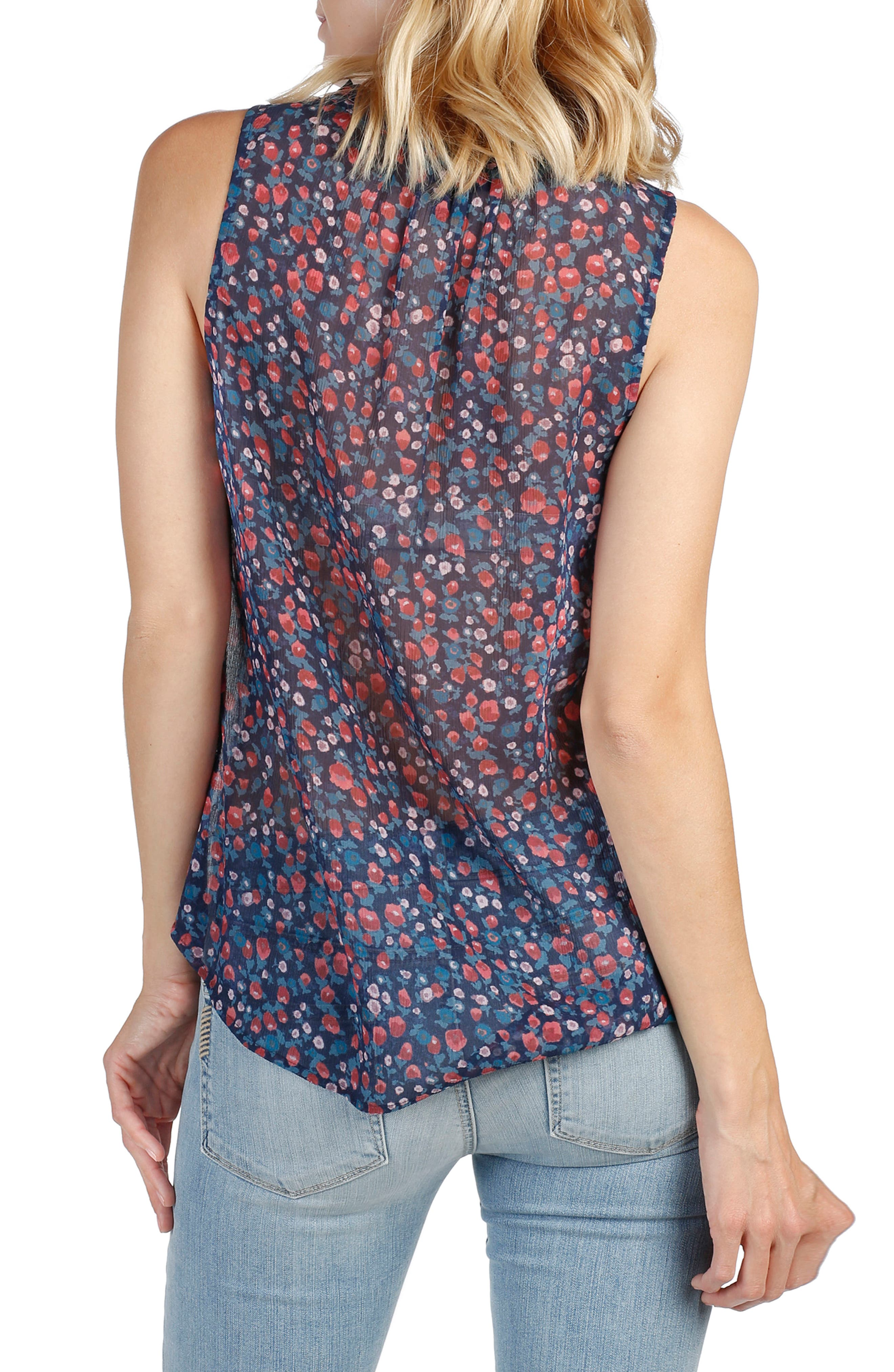 Alma Floral Silk Top,                             Alternate thumbnail 2, color,