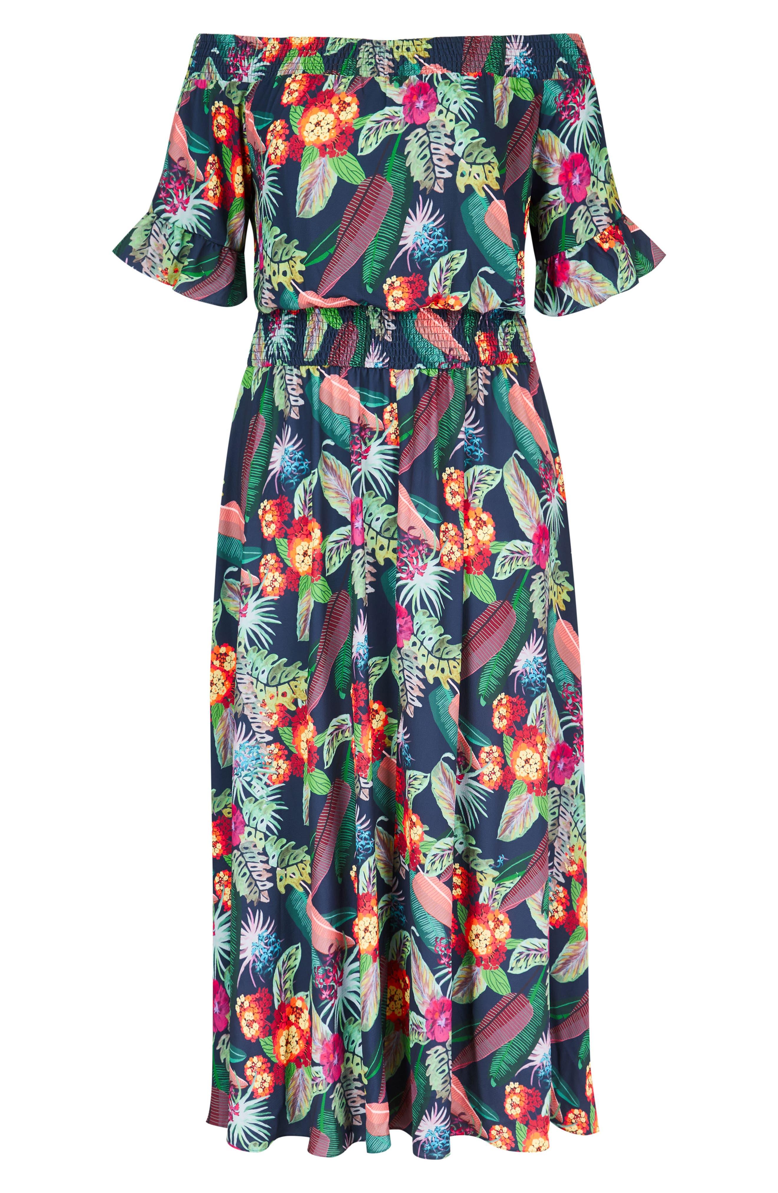 CITY CHIC,                             Jungle Jam Maxi Dress,                             Alternate thumbnail 3, color,                             415