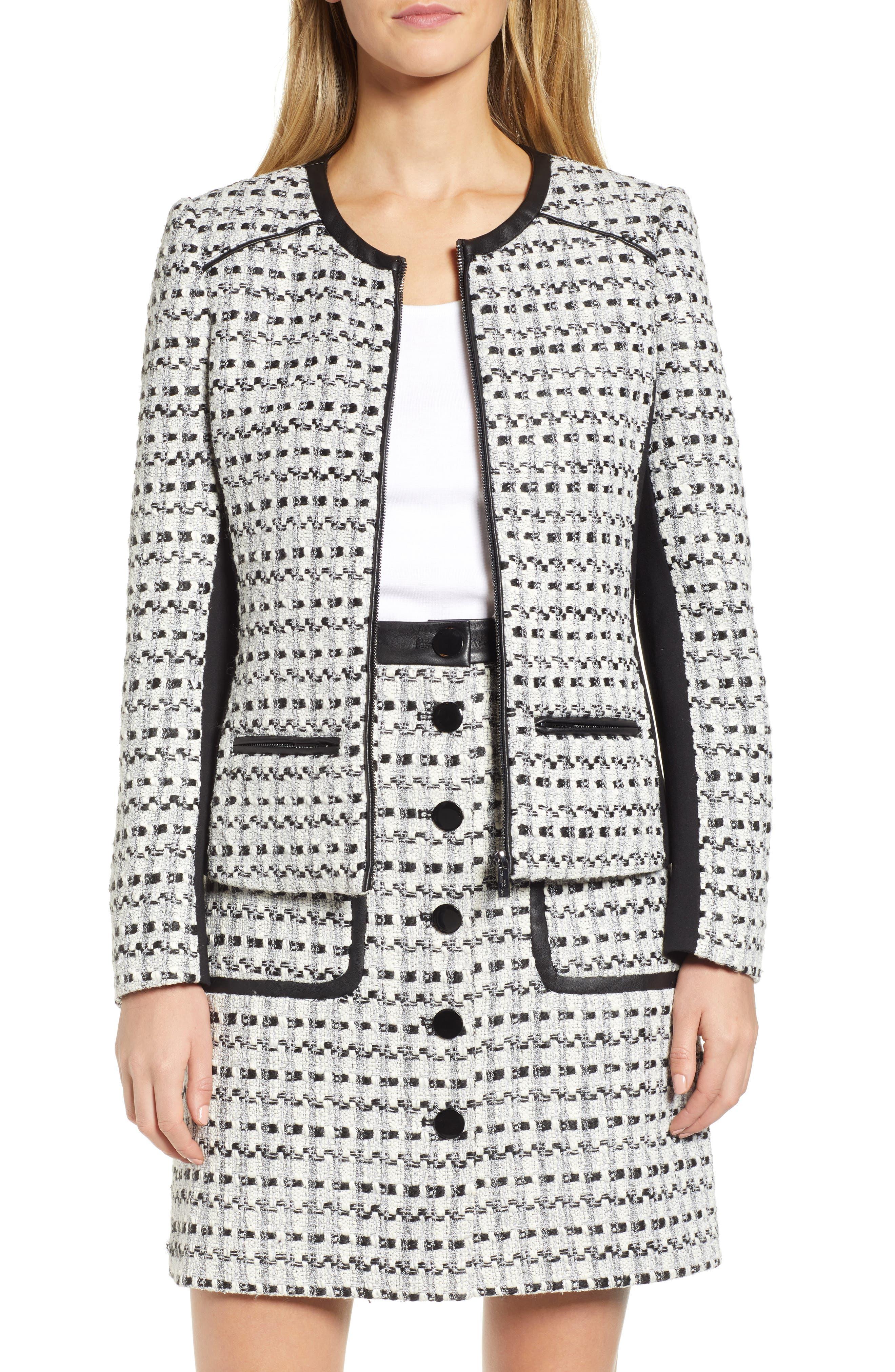 KARL LAGERFELD Contrast Panel Tweed Jacket in White/ Black