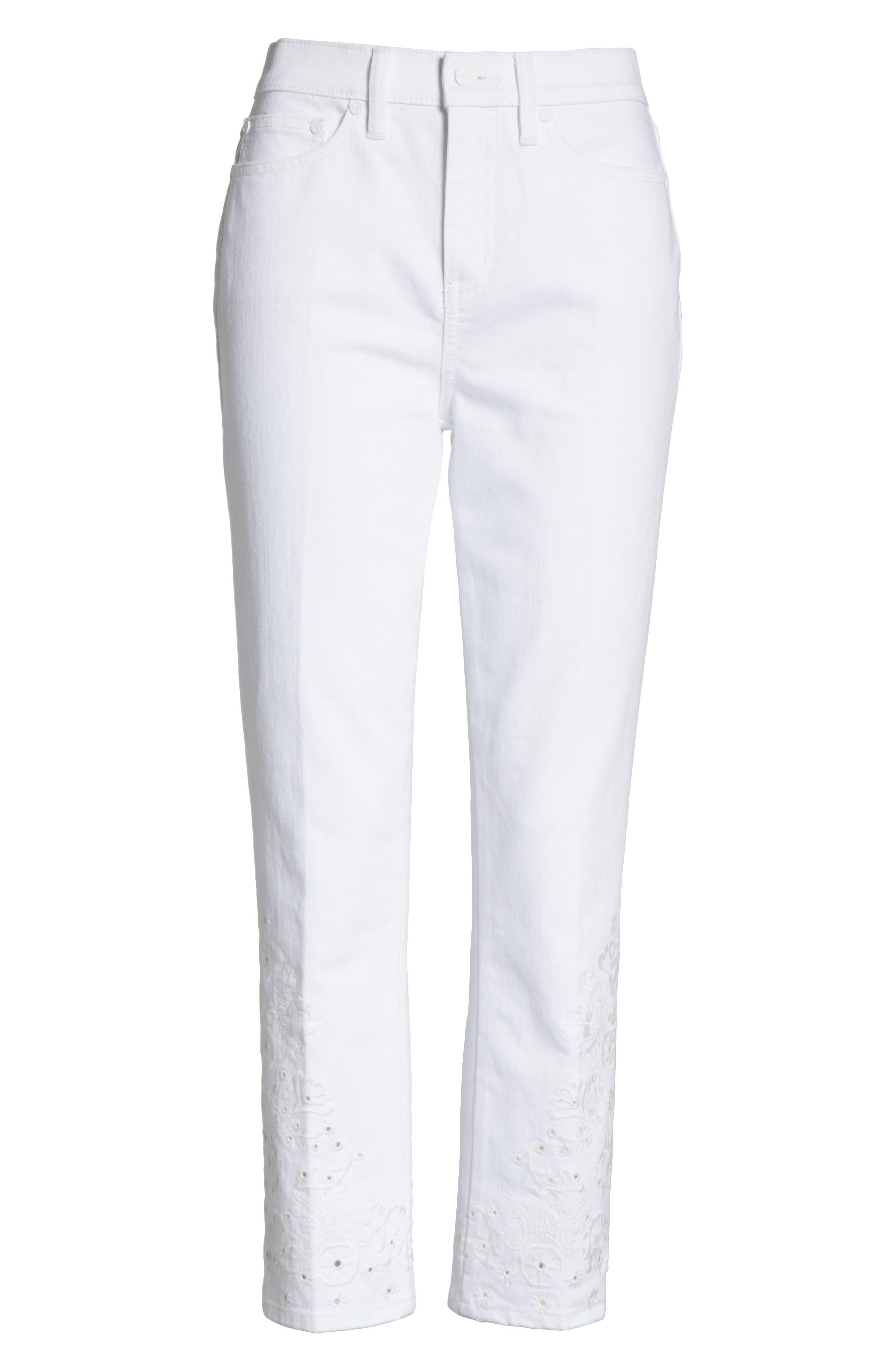 Keira Eyelet Hem Crop Jeans,                             Alternate thumbnail 6, color,                             100