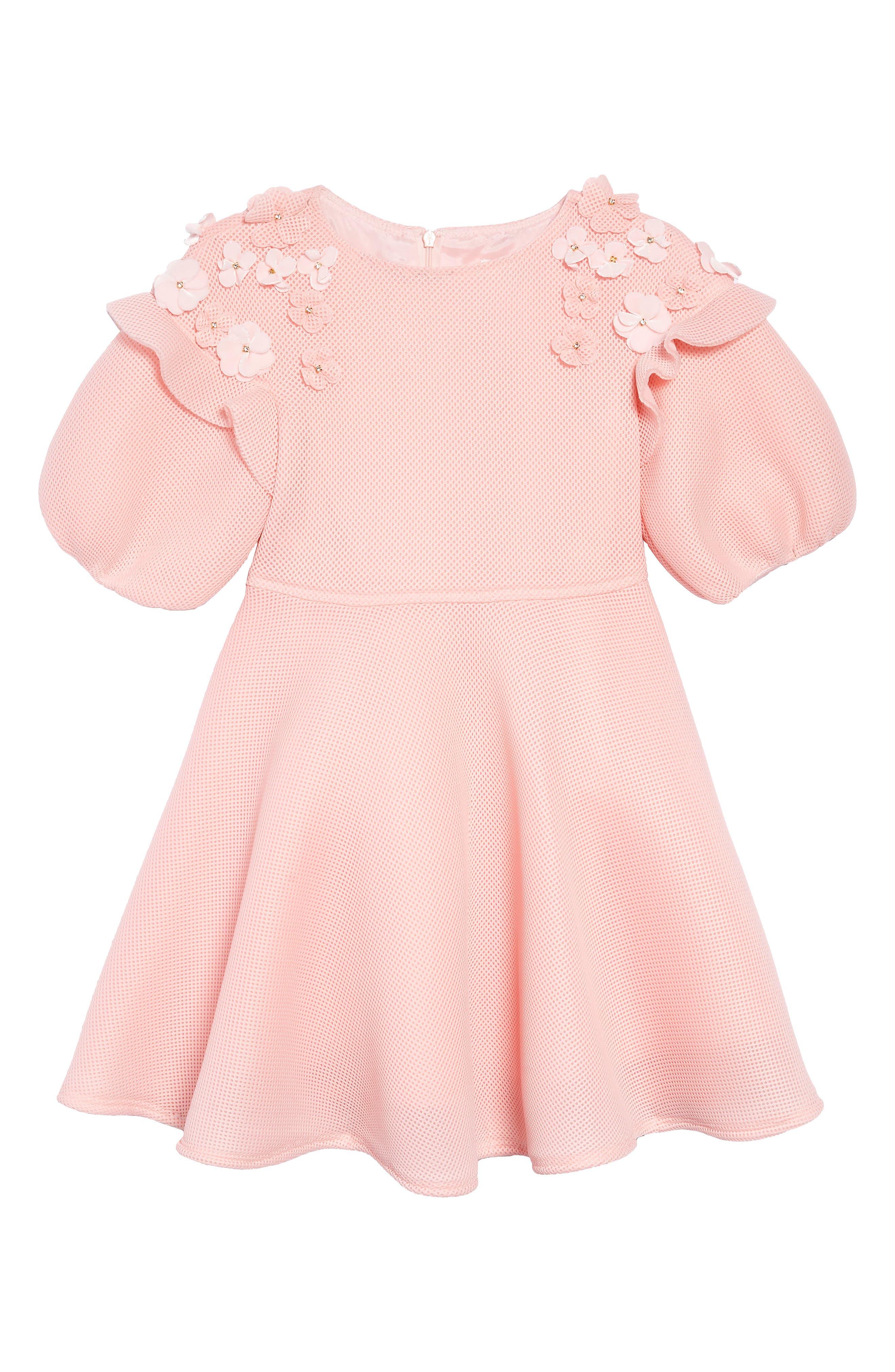 Floral Appliqué Dress,                         Main,                         color, PINK