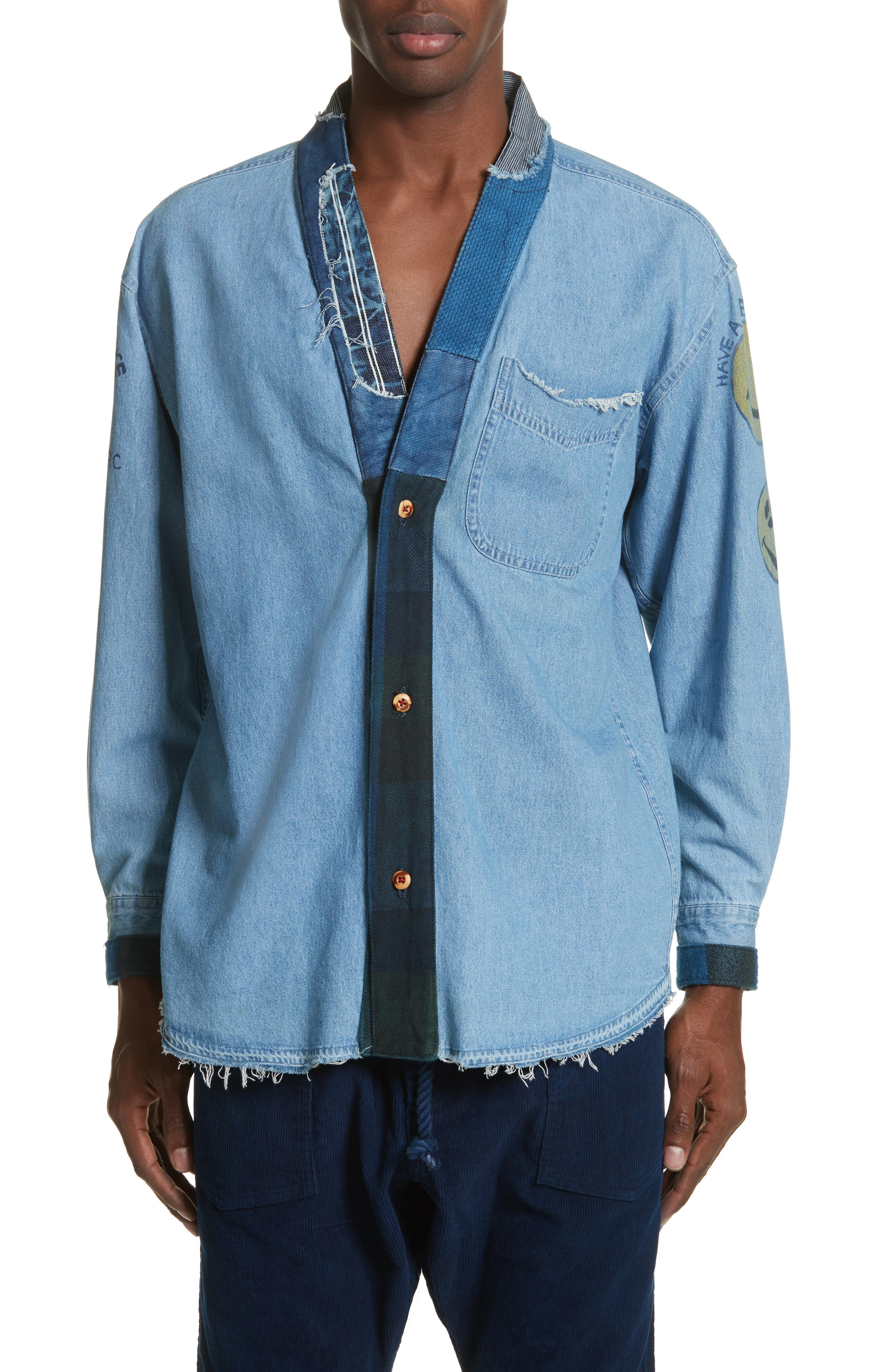 Kasuri Denim Shirt,                         Main,                         color, 400
